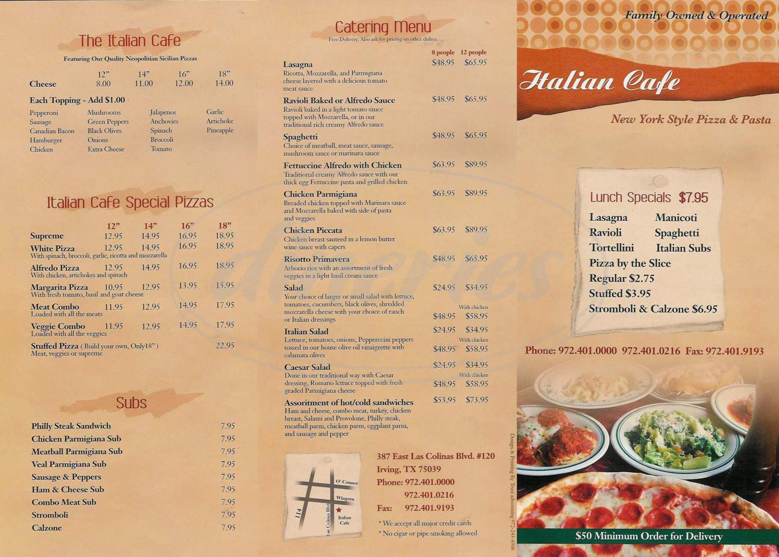 menu for Italian Cafe