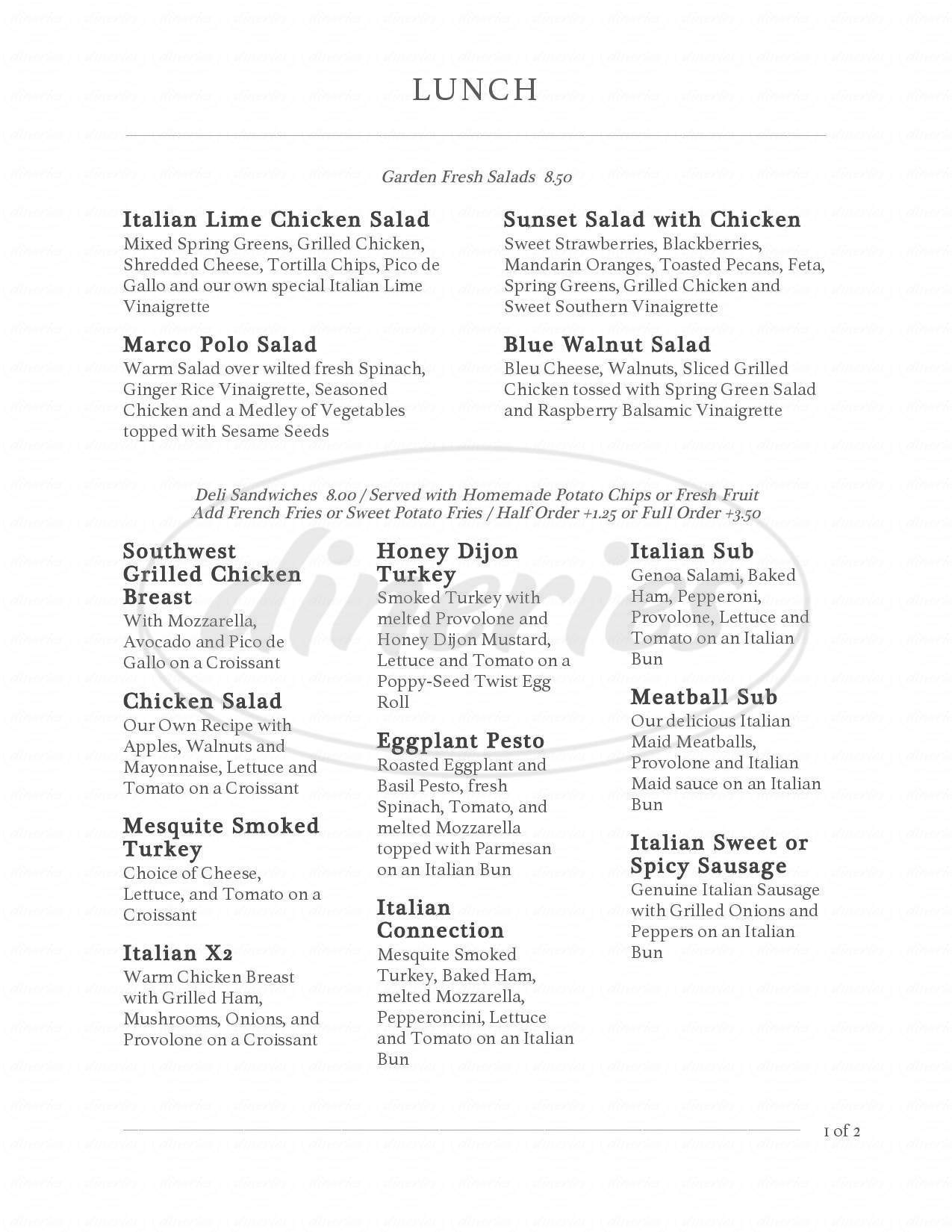 menu for Italian Maid Cafe