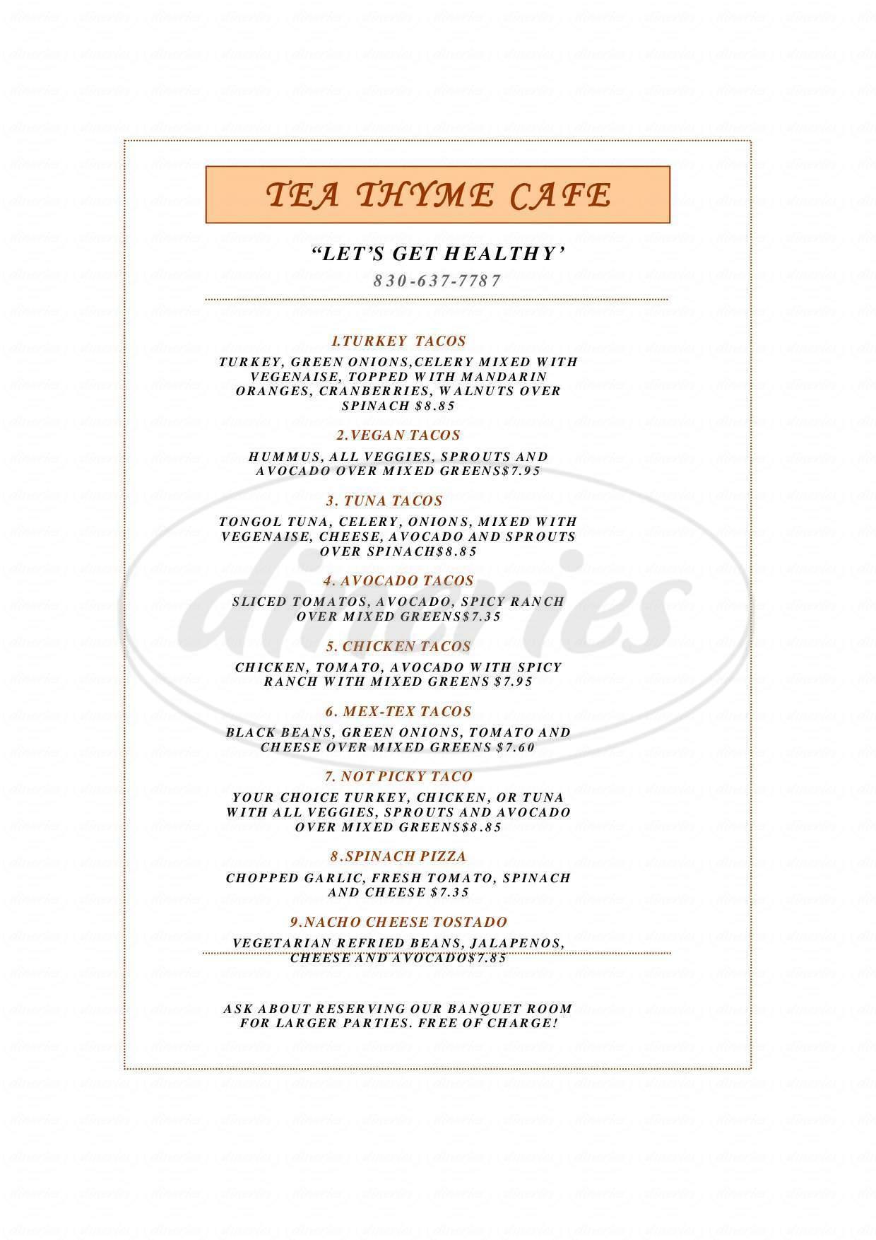 menu for Tea Thyme Cafe
