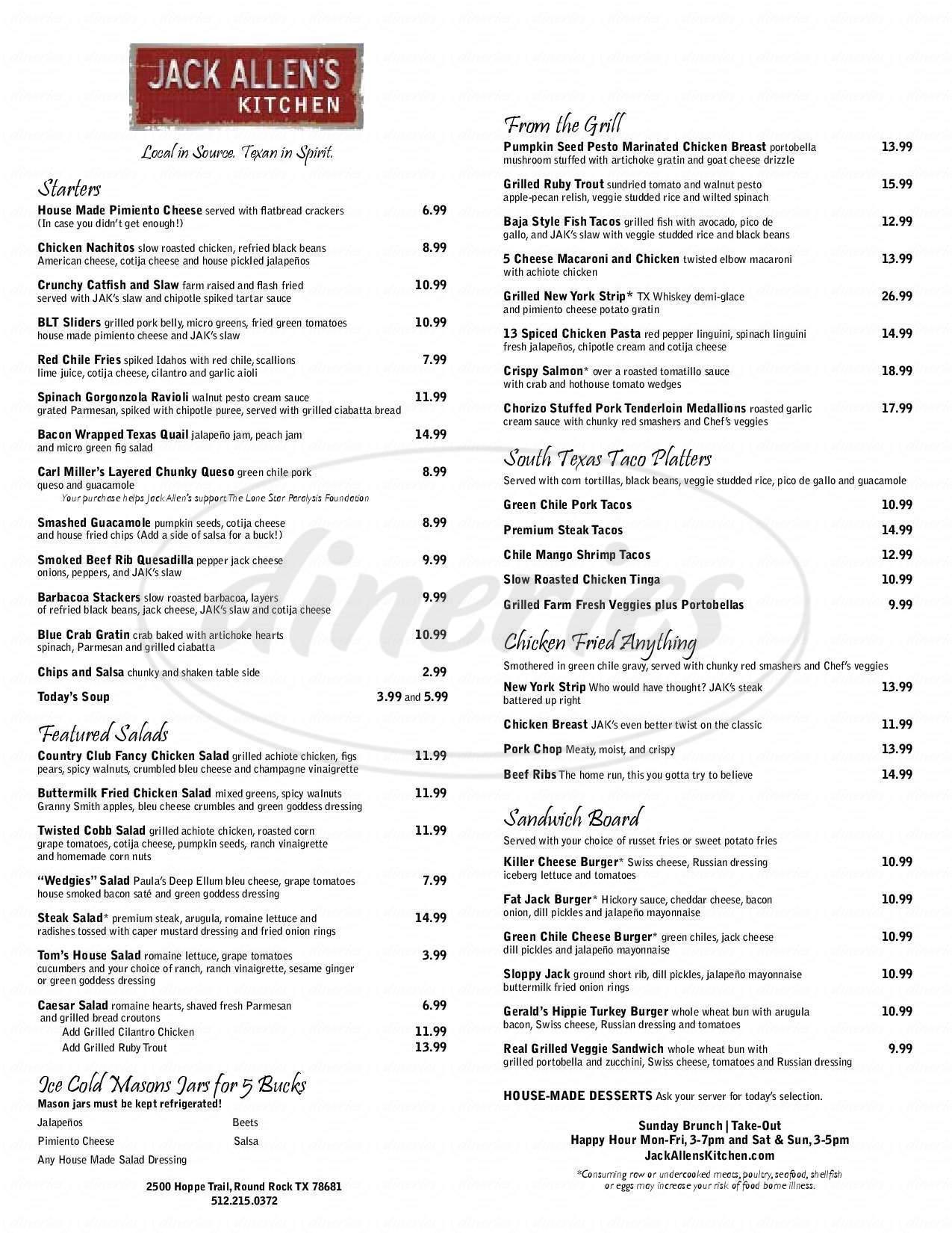 Jack Allen\'s Kitchen Menu - Round Rock - Dineries