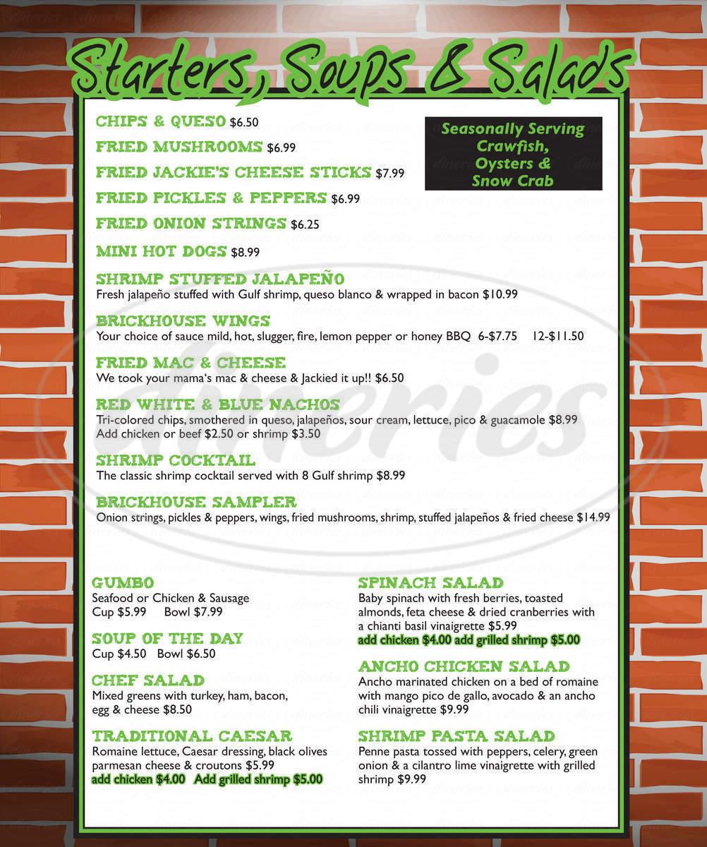 menu for Jackie's Brickhouse