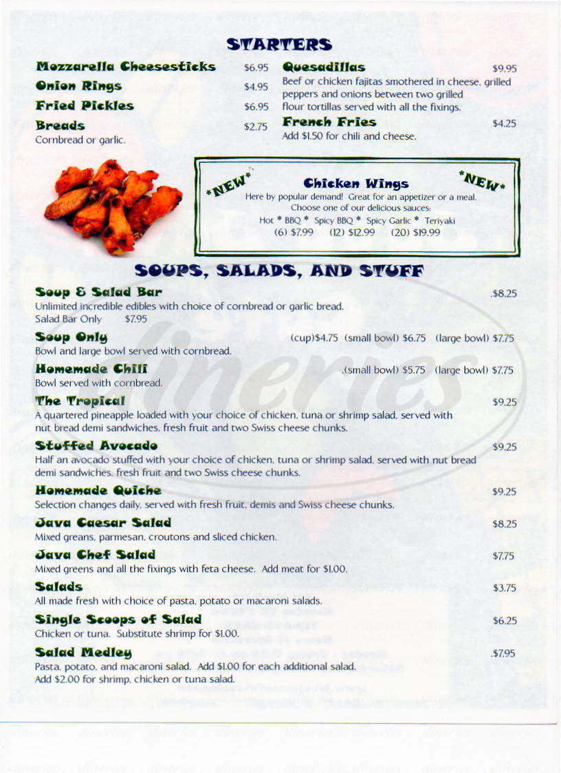 menu for Java Java Cafe