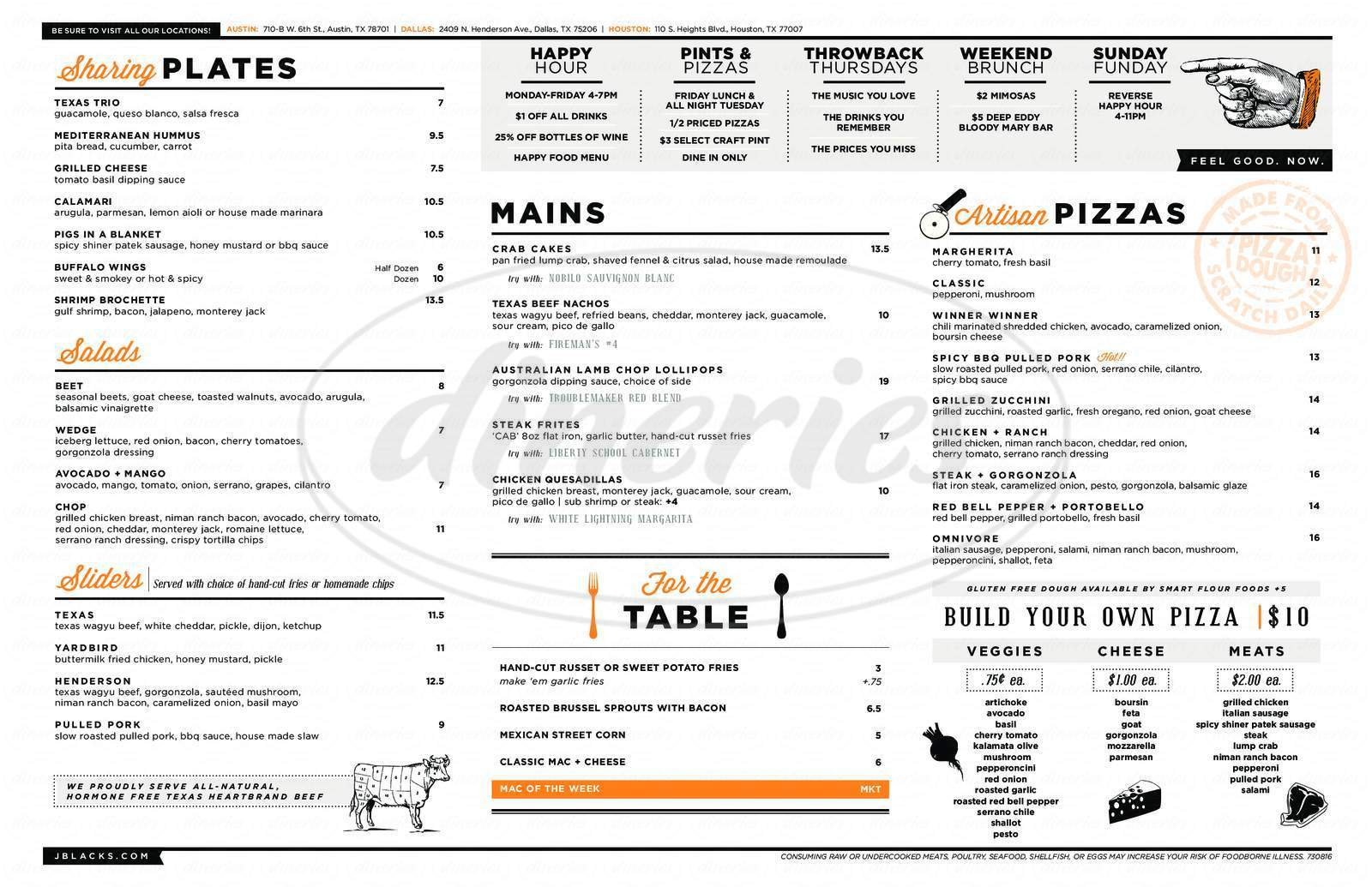 menu for J BLACK'S Feel Good Kitchen & Lounge
