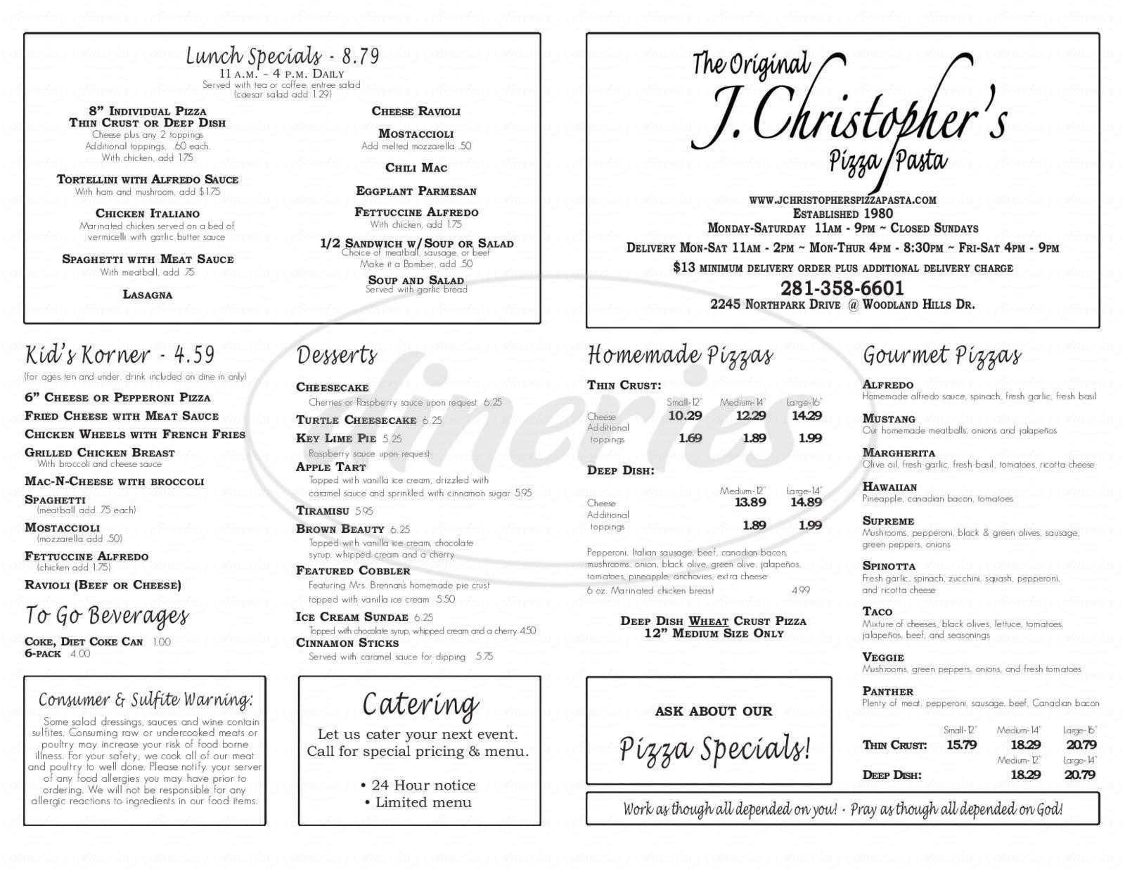 menu for J Christopher's Pizza Pasta