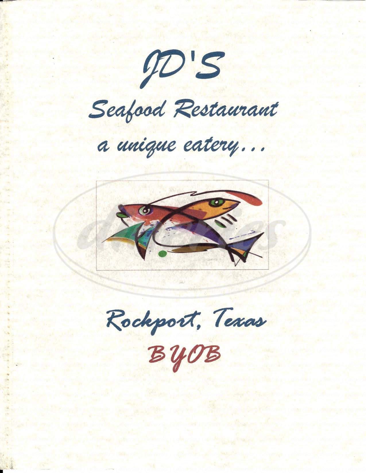 menu for JD's Seafood Restaurant
