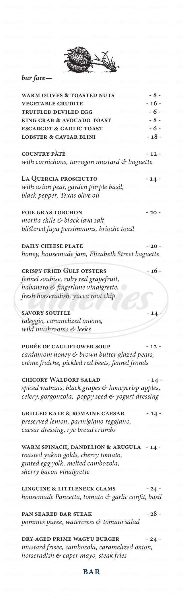 menu for Jeffrey's Restaurant & Bar