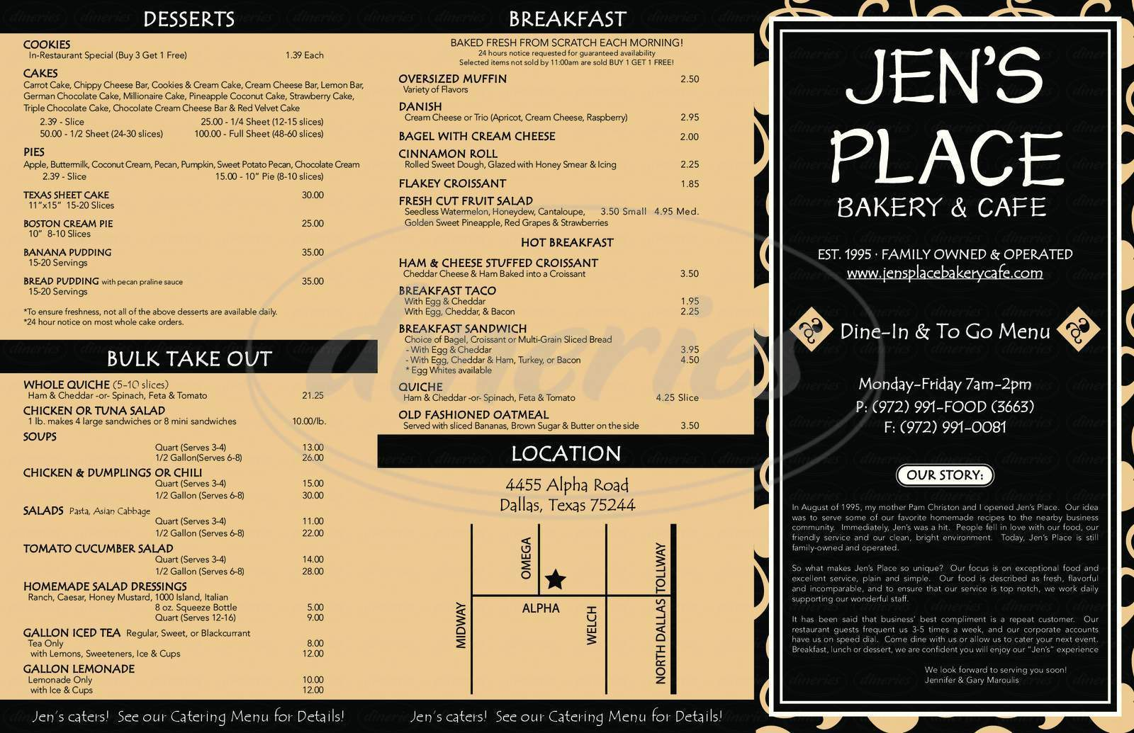 menu for Jen's Place