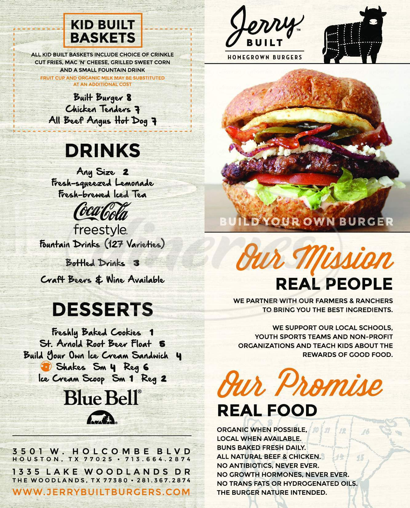 menu for JerryBuilt Homegrown Burgers