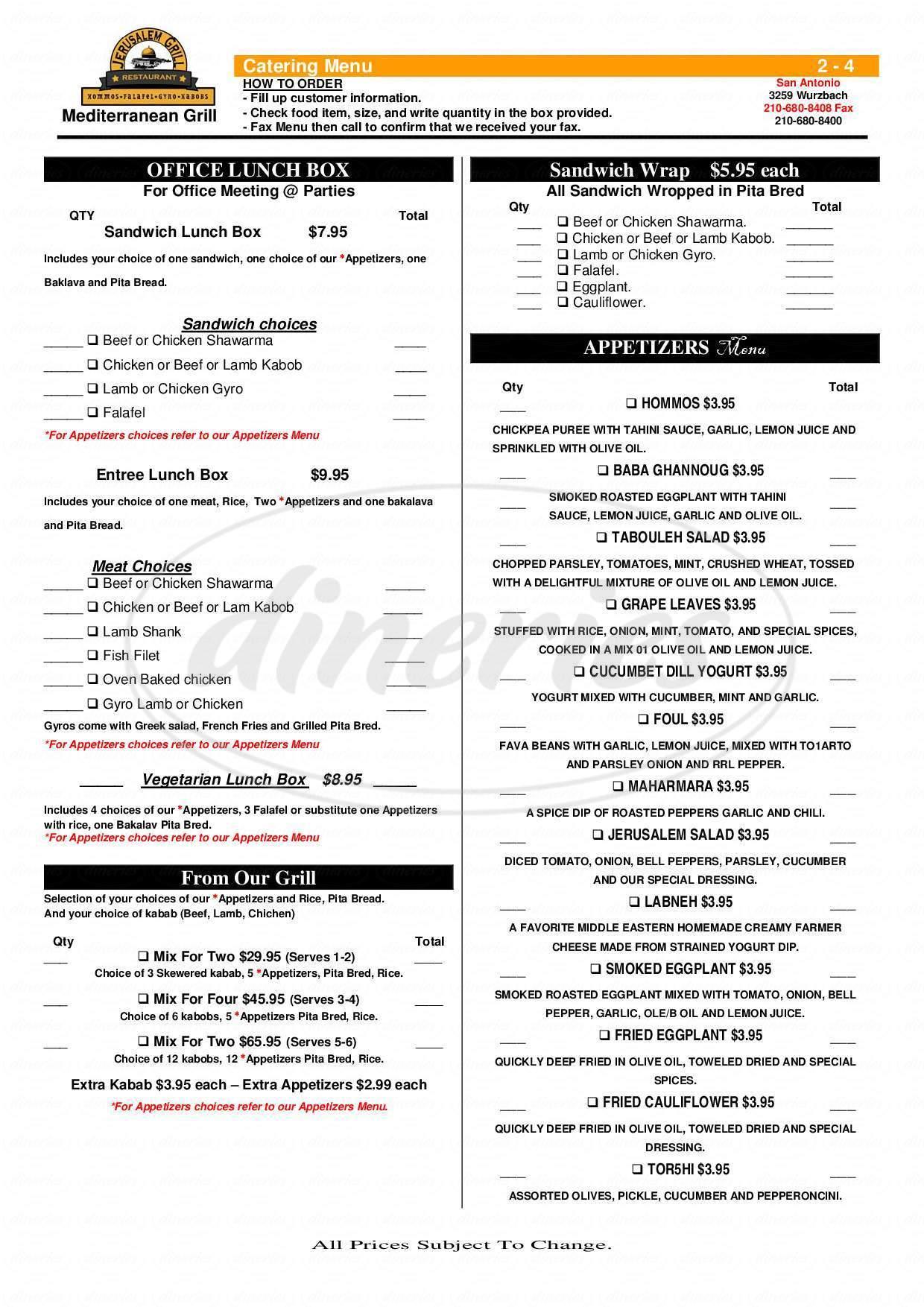 menu for Jerusalem Grill
