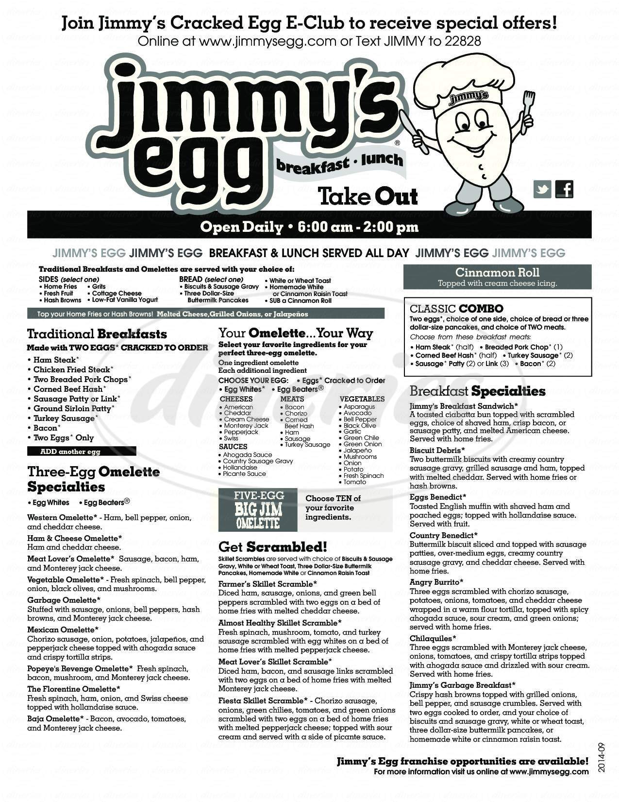 menu for Jimmys Egg