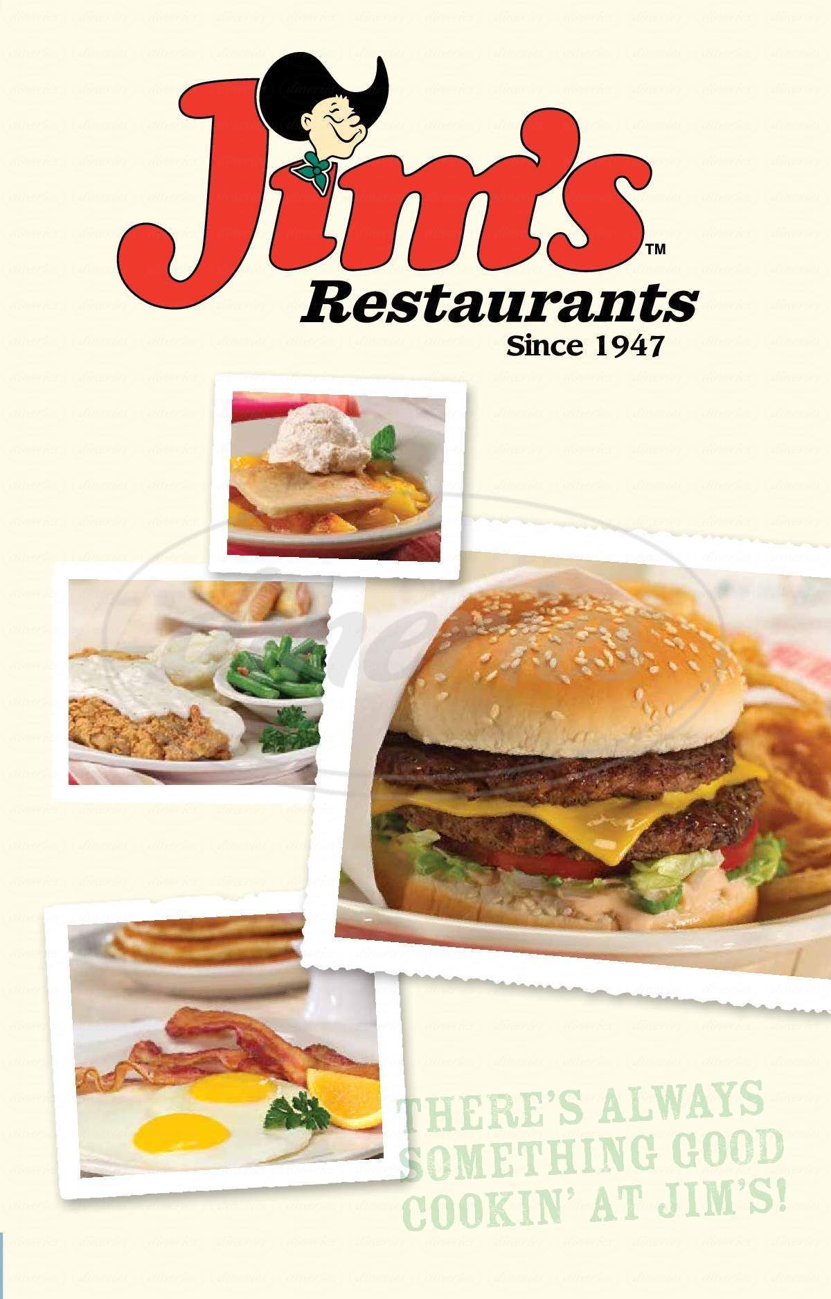 menu for Jim's Restaurant