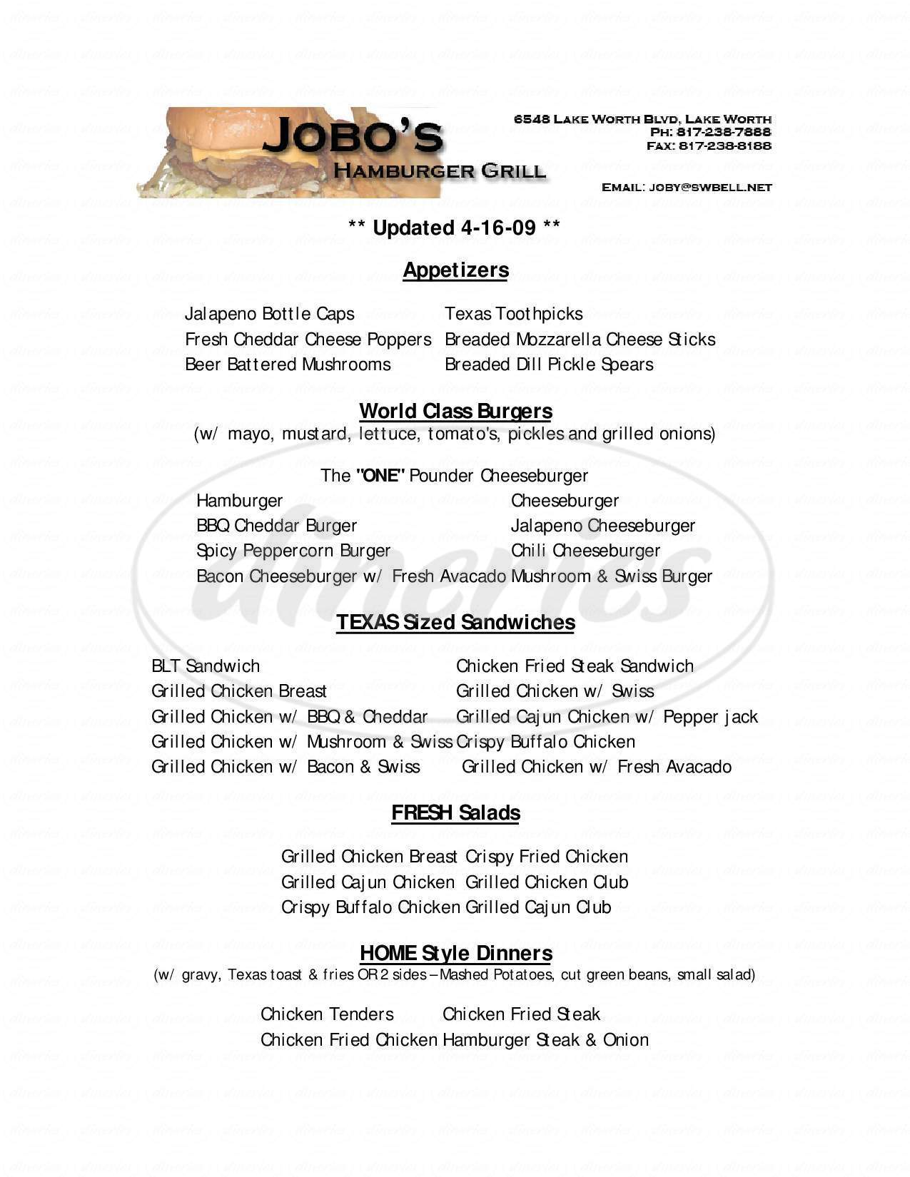 menu for Jobo's Hamburger Grill