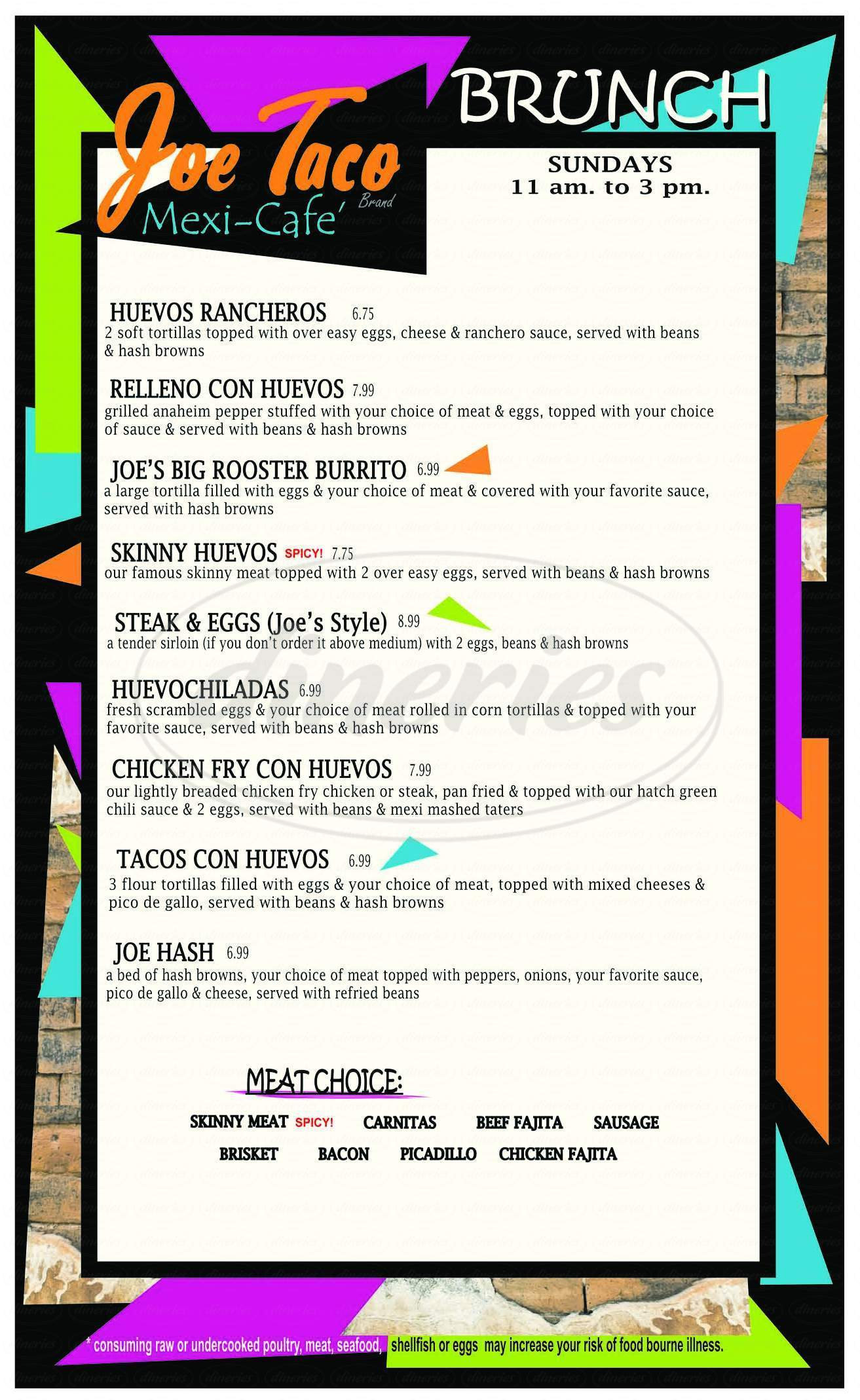 menu for Joe Taco