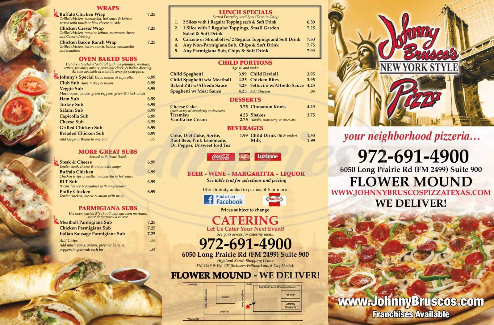 menu for Johnny Brusco's New York Style Pizza