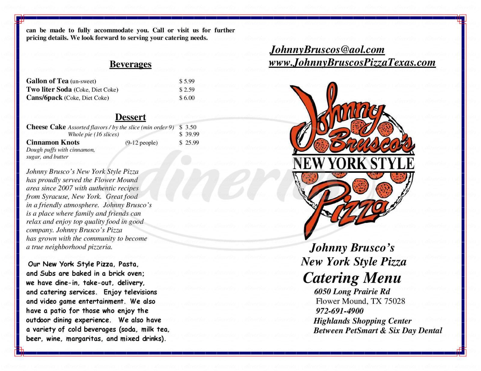 Big menu for Johnny Brusco's New York Style Pizza, Flower Mound