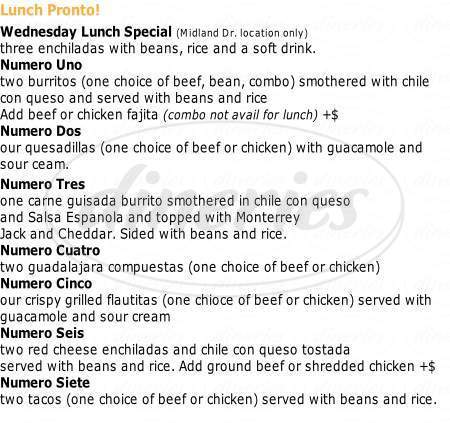 menu for Jorge's Mexican Cafe
