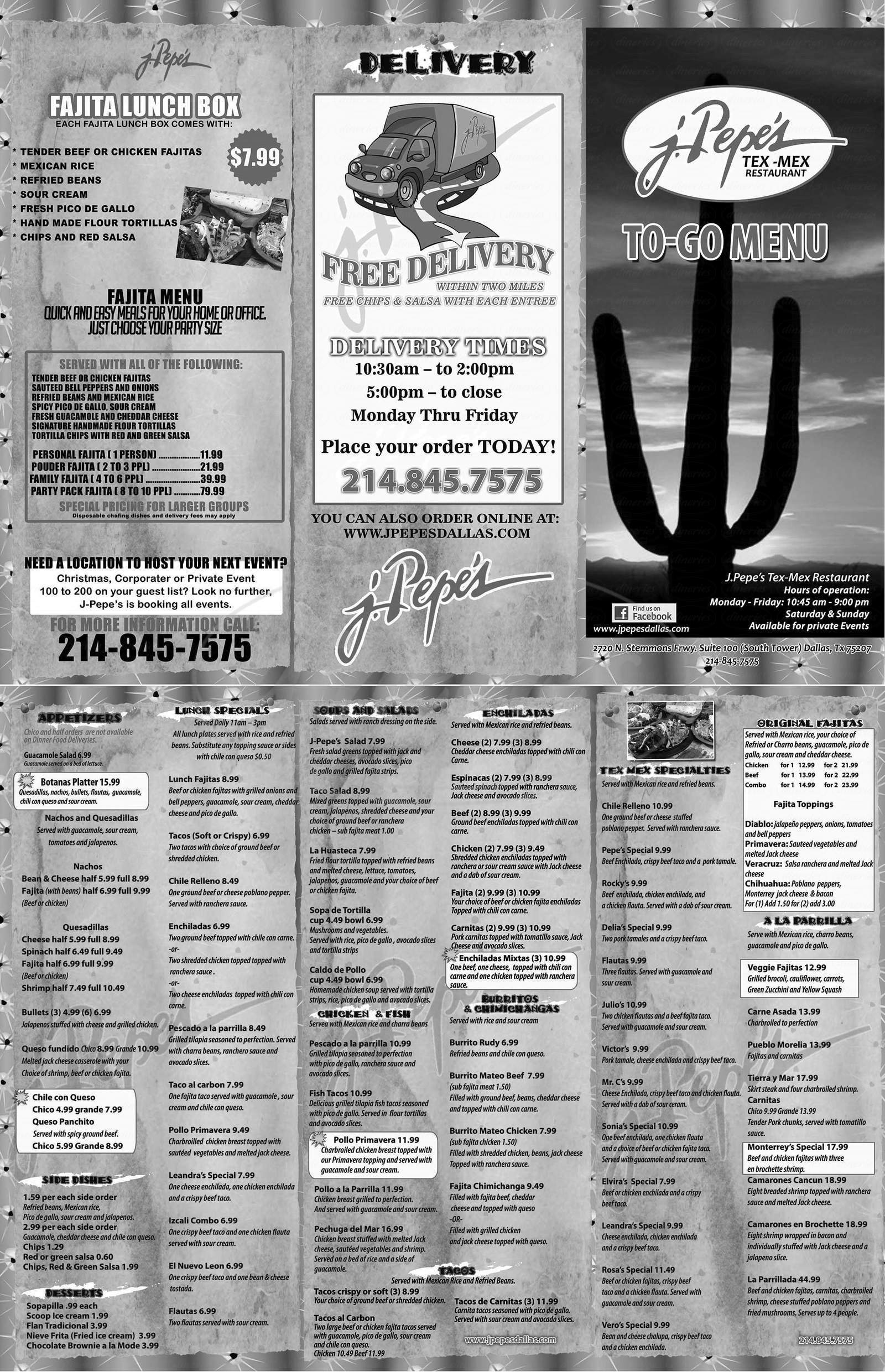 menu for J Pepes Tex-Mex Restaurant