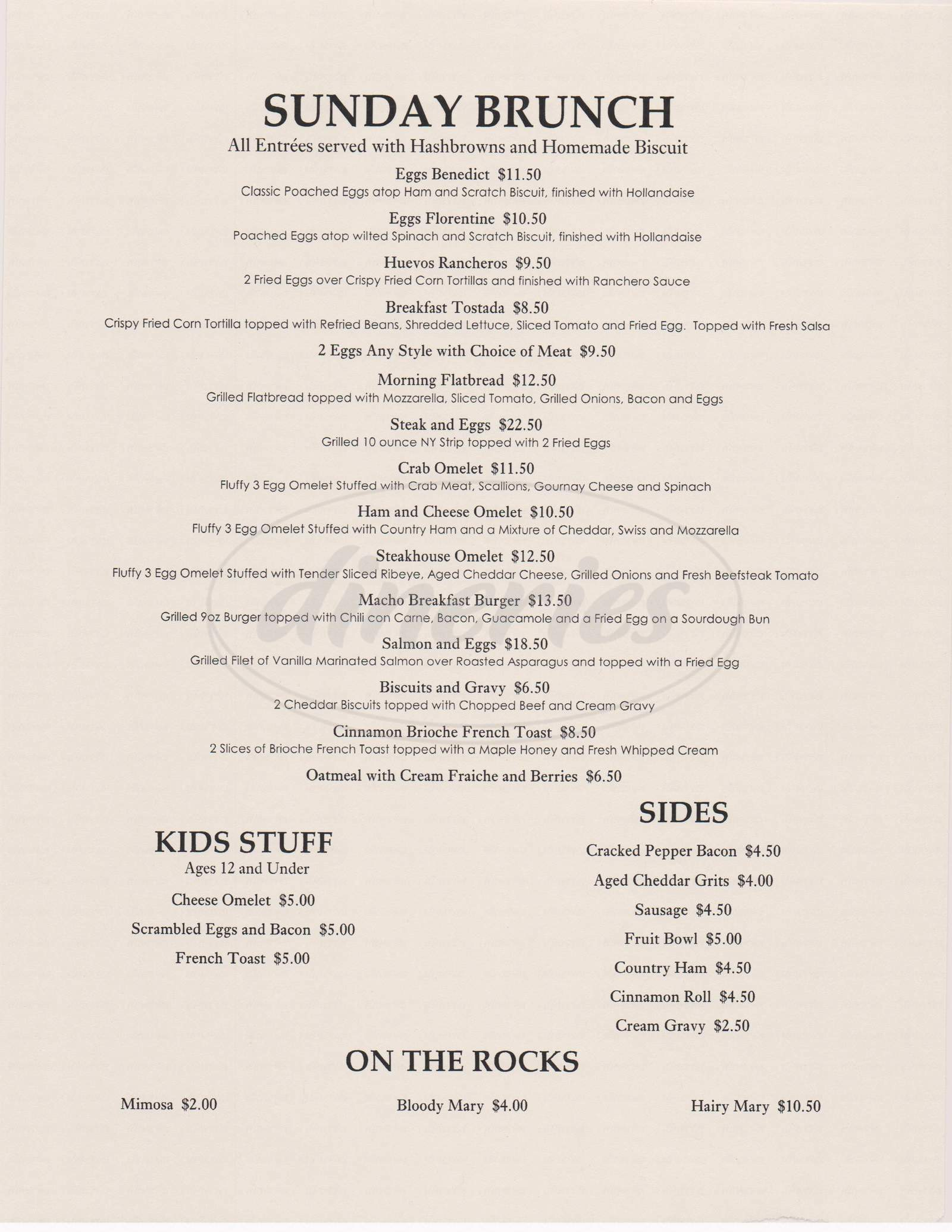 menu for J.R.'s Steakhouse