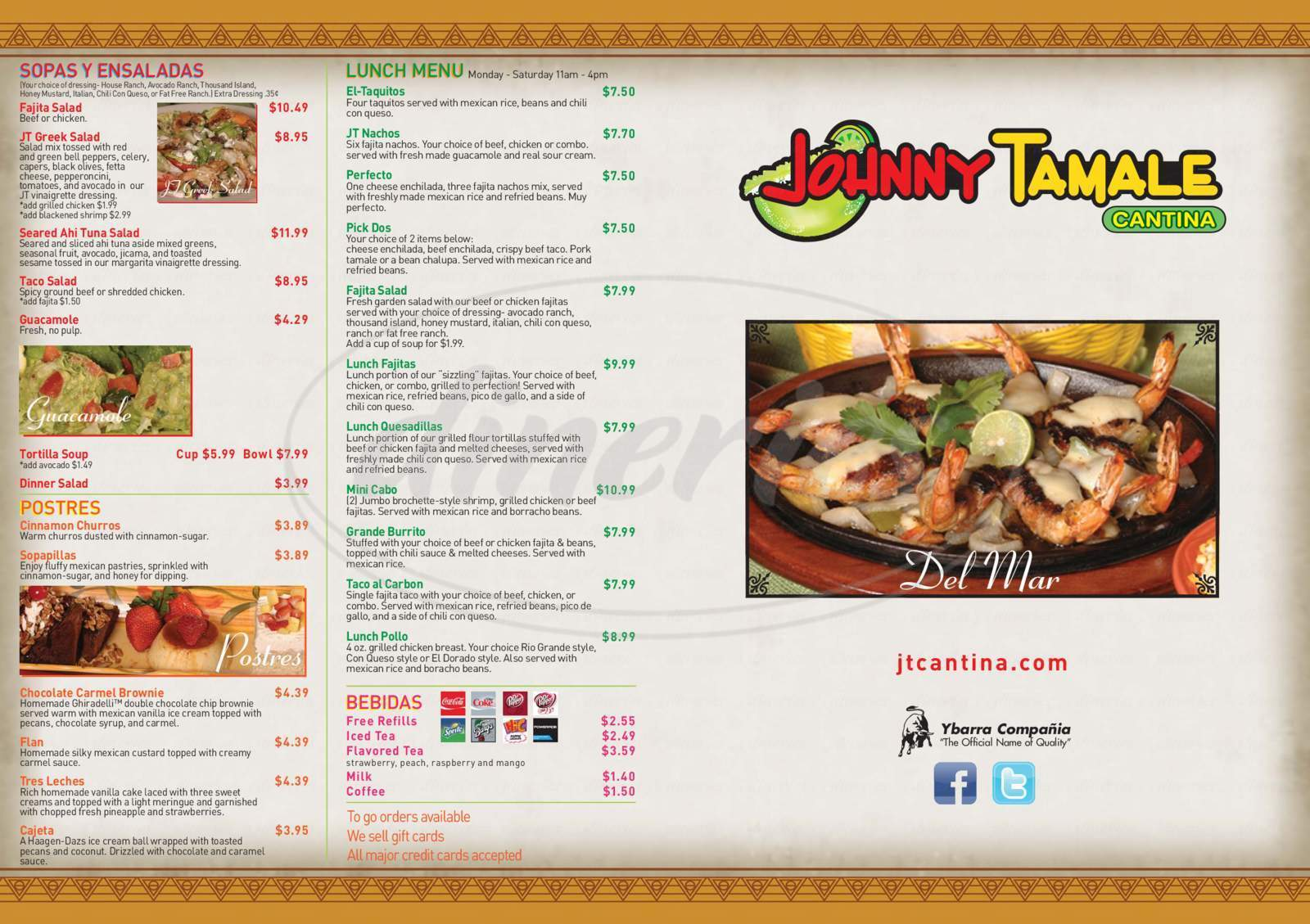 menu for Johnny Tamale Cantina