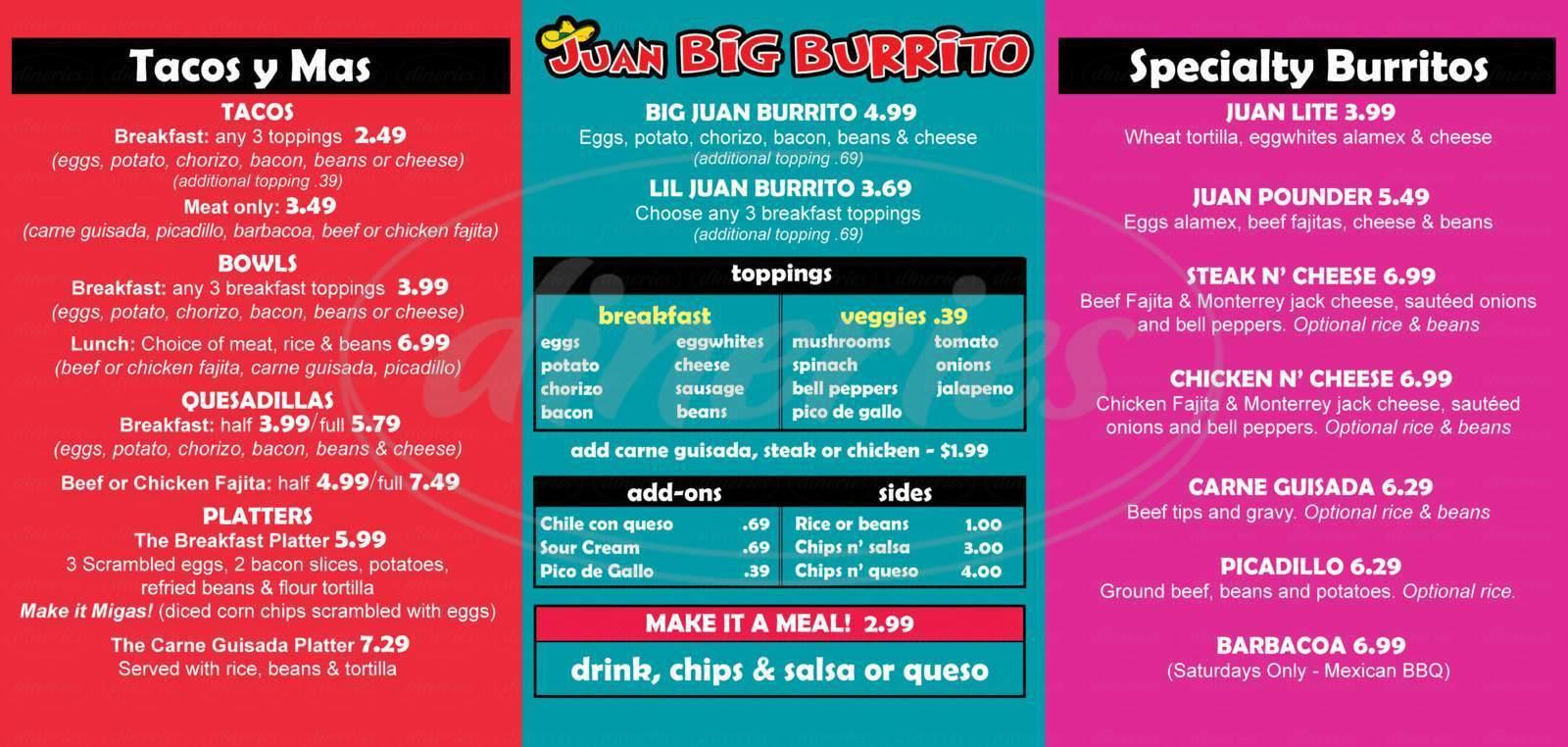menu for Juan Big Burrito