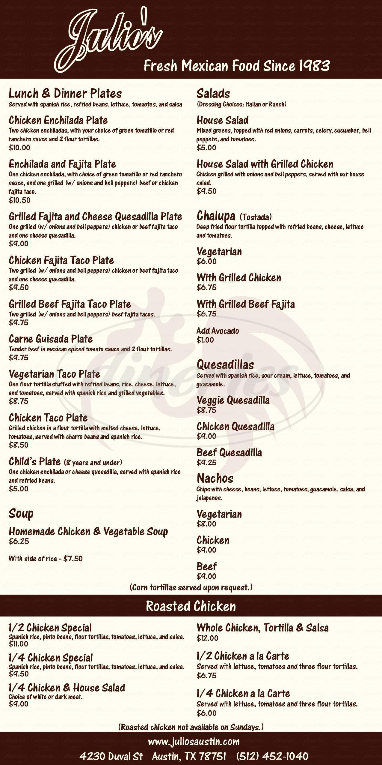 menu for Julio's Café