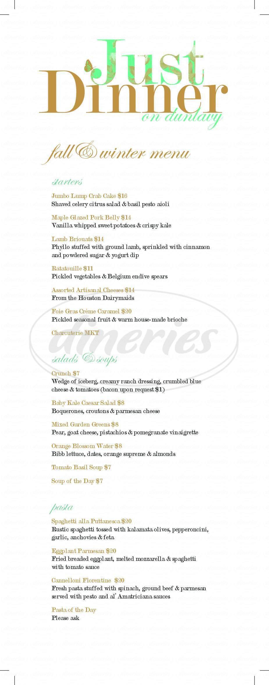 menu for Just Dinner