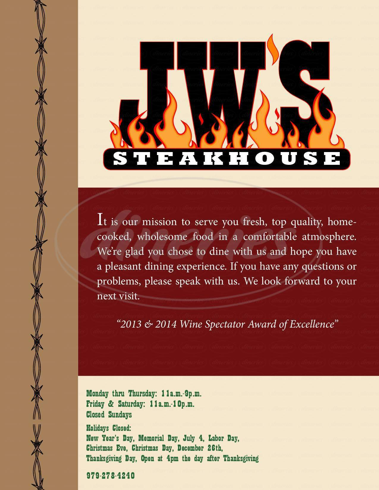 menu for JW's Steakhouse