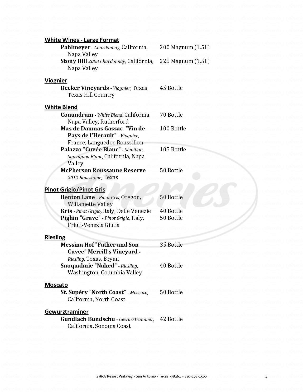 menu for 18 Oaks