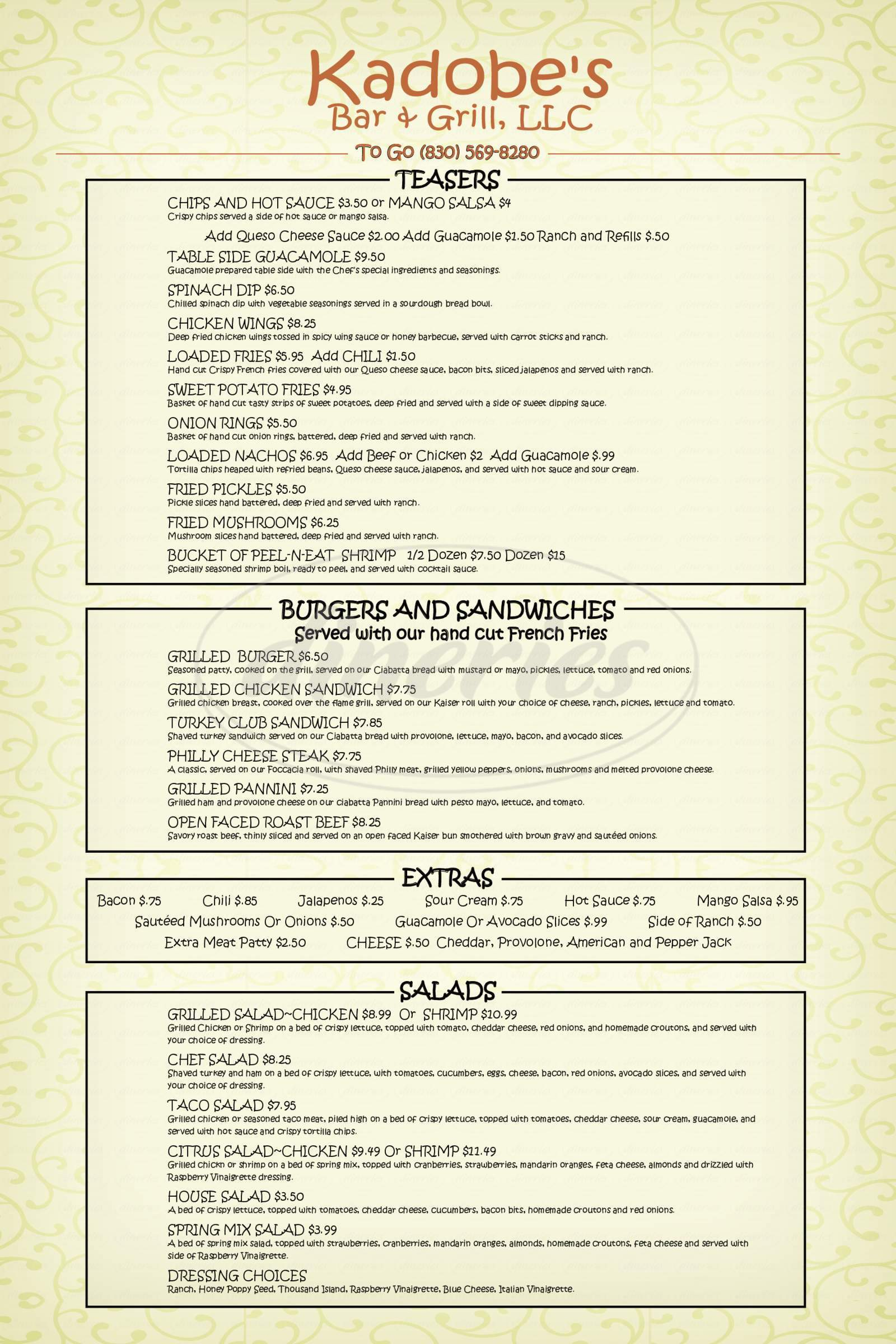 menu for Kadobe's Bar & Grill, LLC