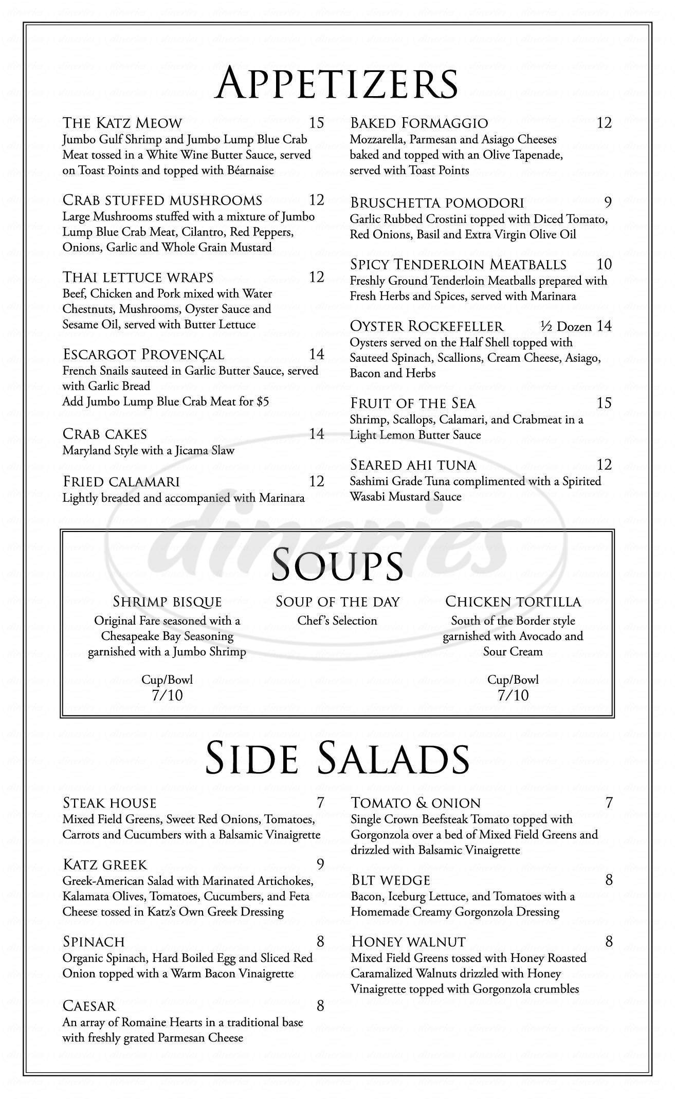 menu for Katz 21 Steak & Spirits