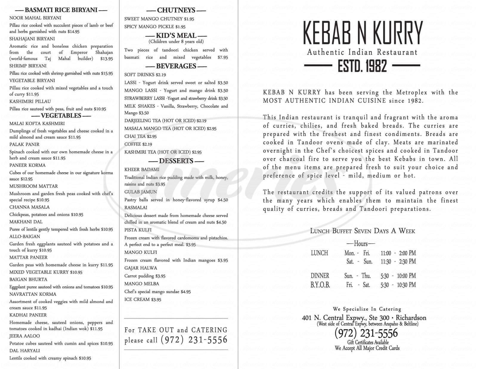menu for Kebab-N-Kurry Indian Restaurant