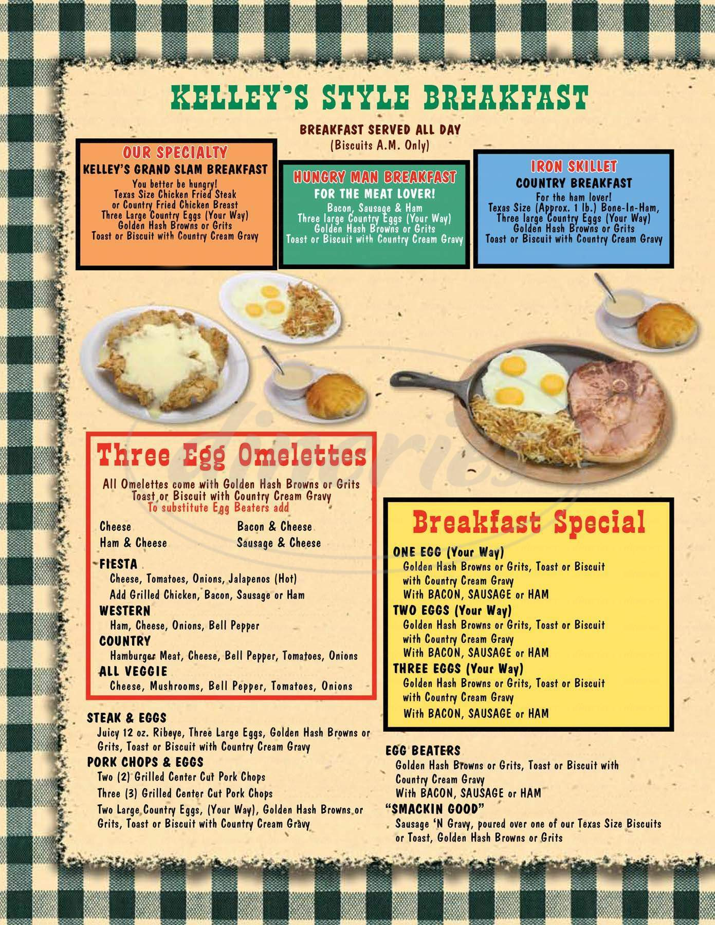 menu for Kelley's Country Cooking