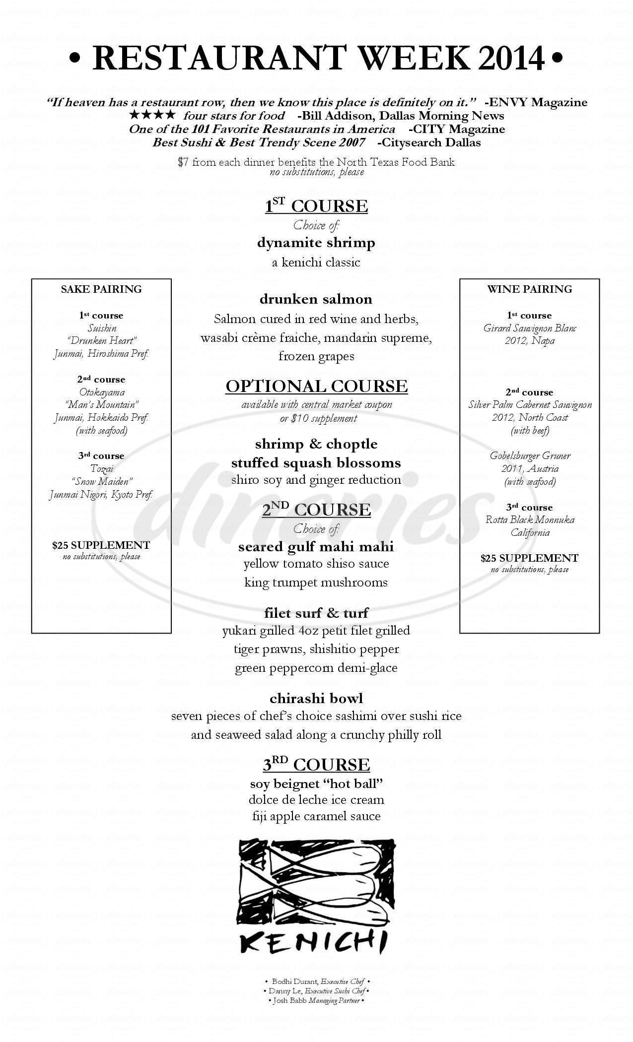 menu for Kenichi