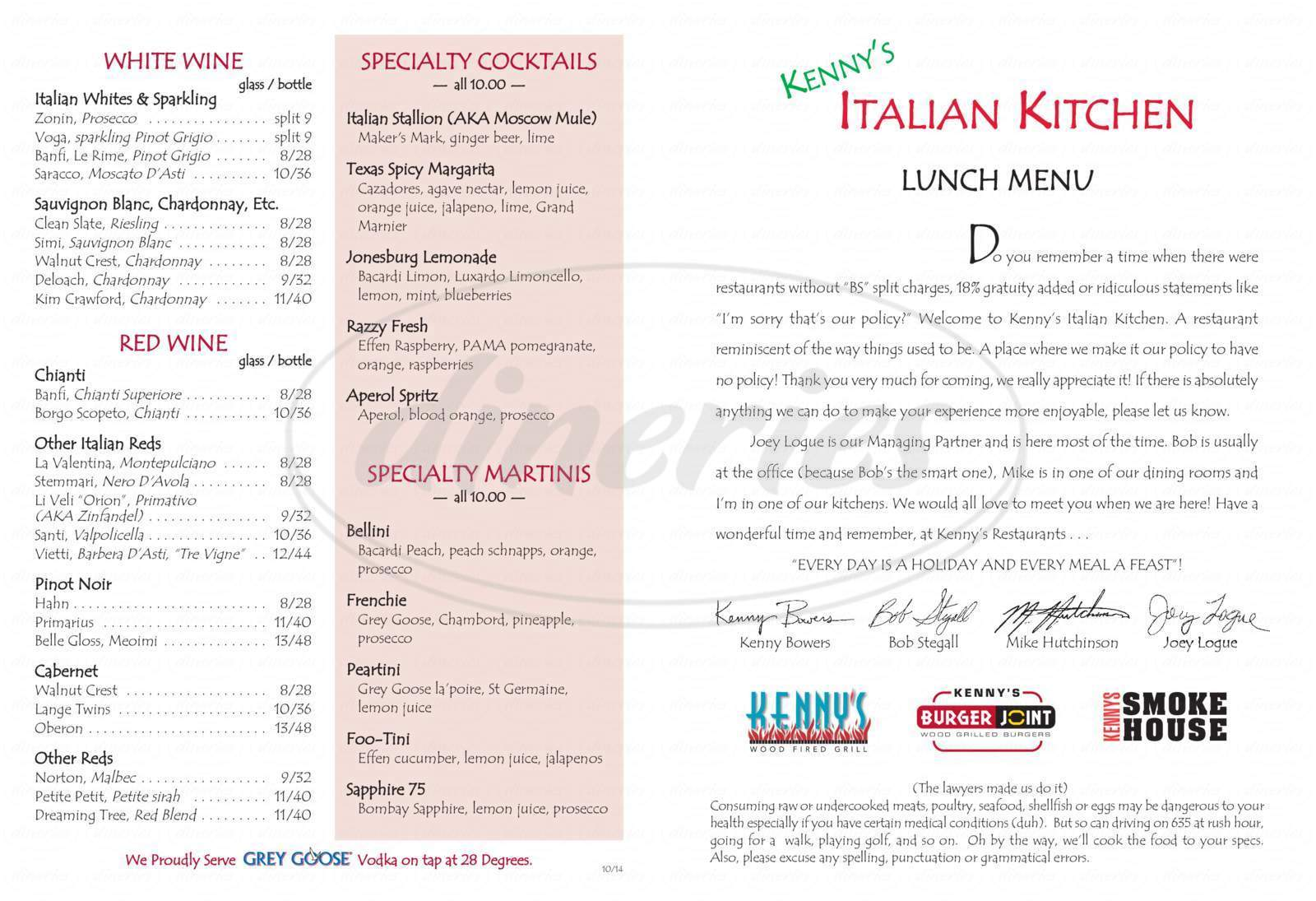 menu for Kenny's Italian Kitchen