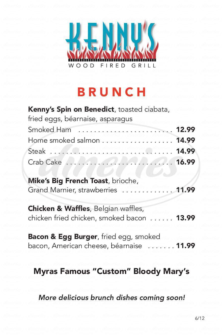 menu for Kenny's Wood Fired Grill
