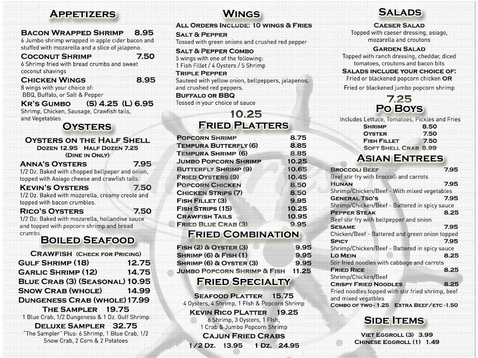 menu for Kevin Ricos Seafood and Oyster Bar