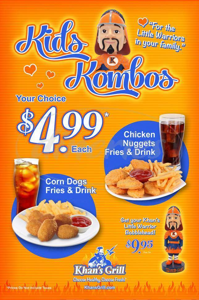 menu for Khan's Grill