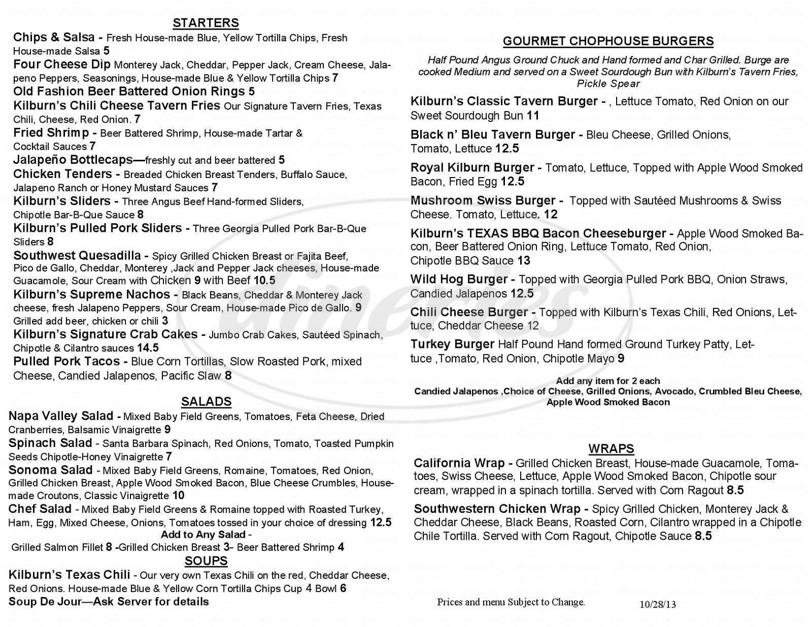menu for Kilburn's Tavern & Grille