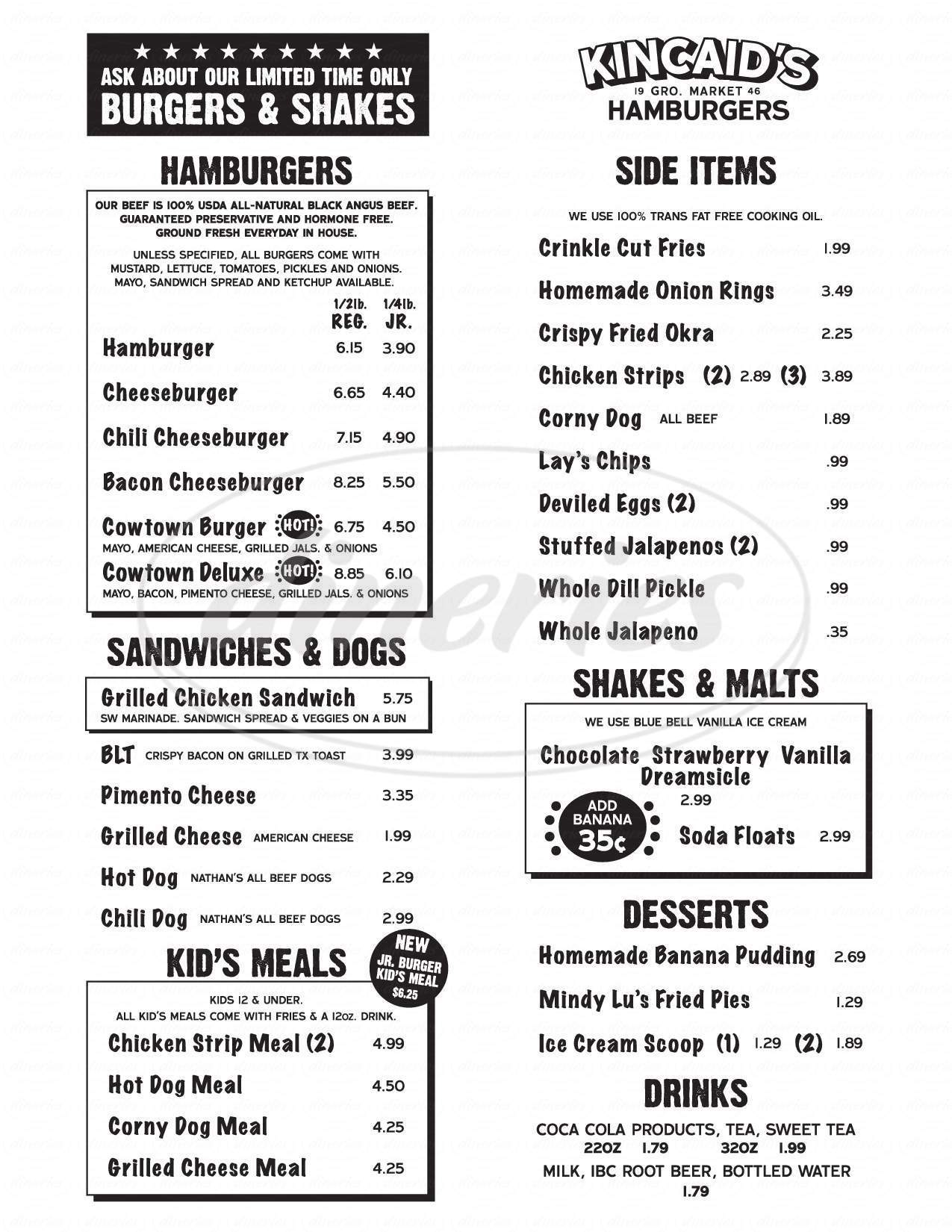 menu for Kincaid's Hamburgers