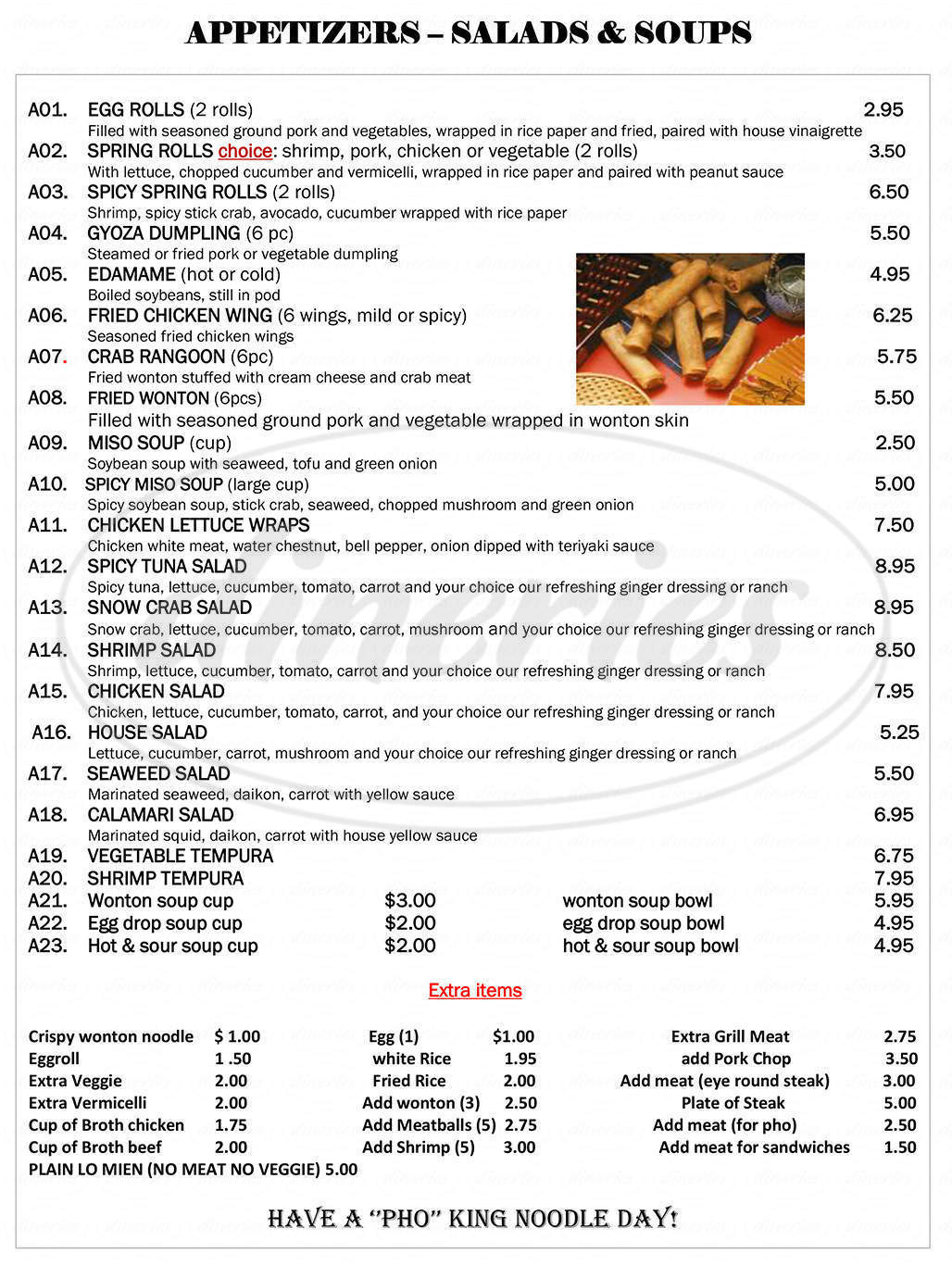 menu for King Noodle Healthy Asian Cuisine