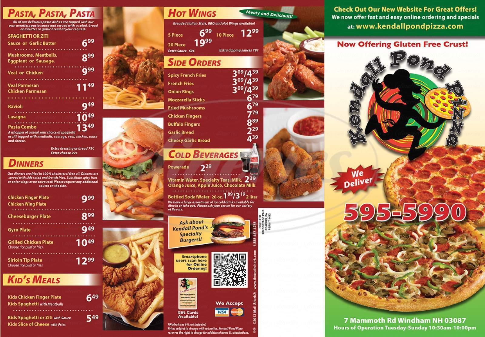 menu for Kendall Pond Pizza Restaurant