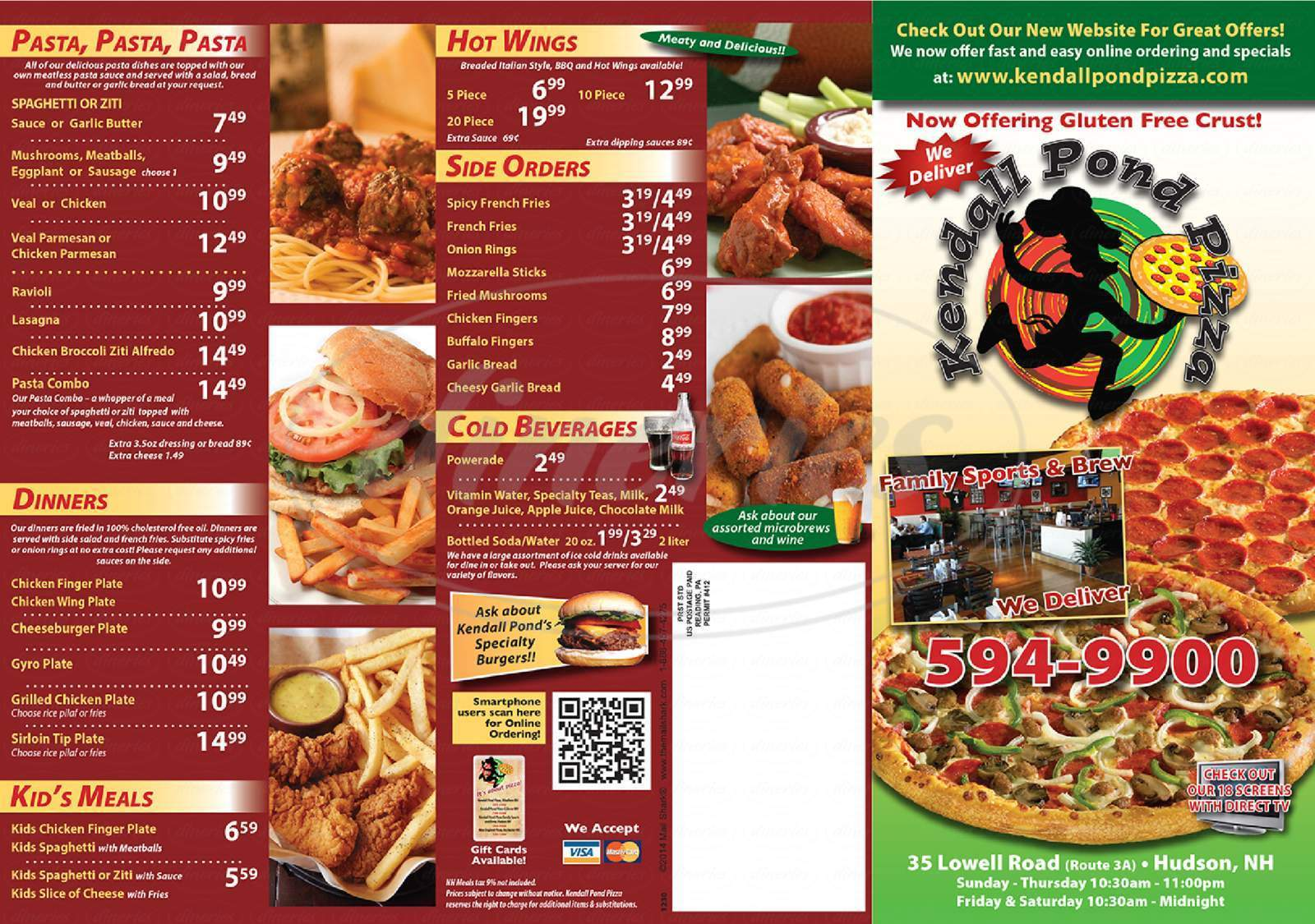 menu for Kendall Pond Pizza