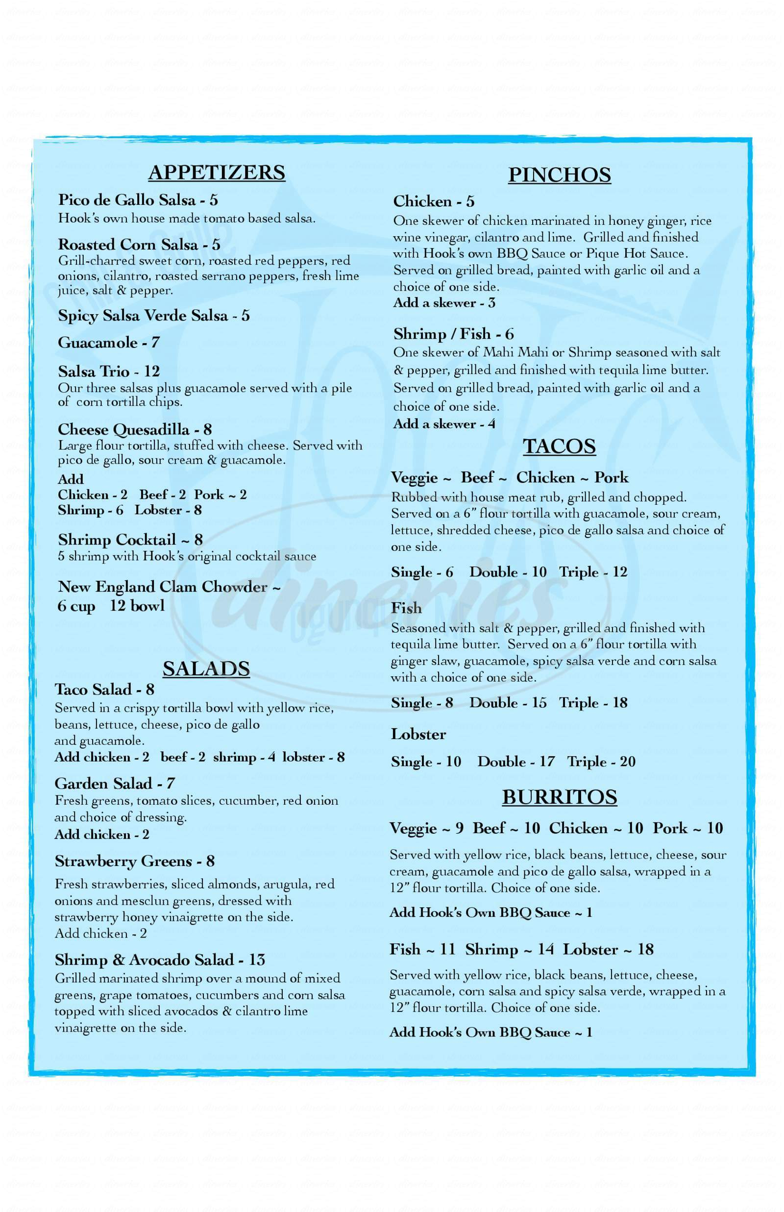 menu for Hook's Chill & Grill