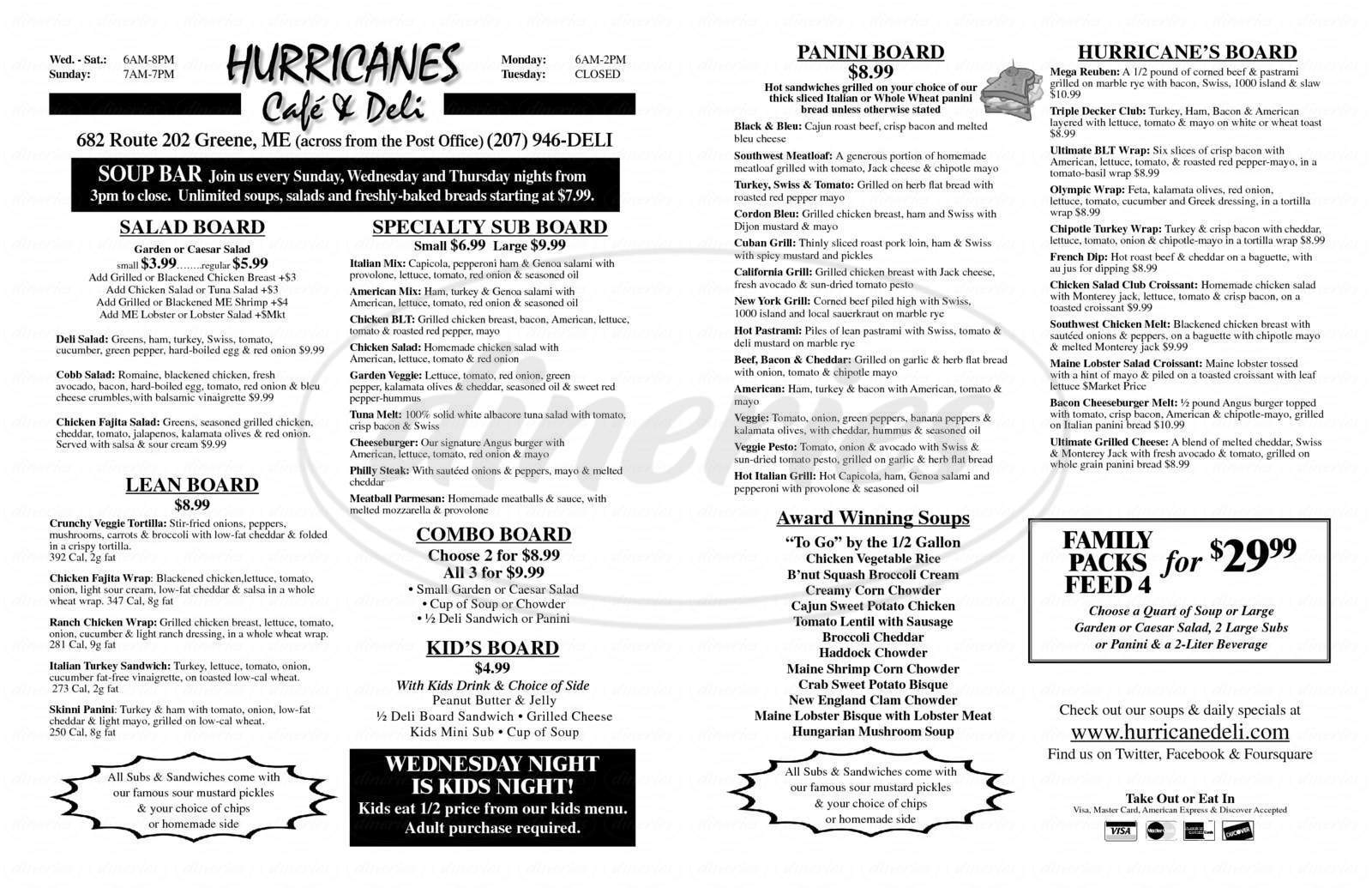 menu for Hurricane's Cafe & Deli