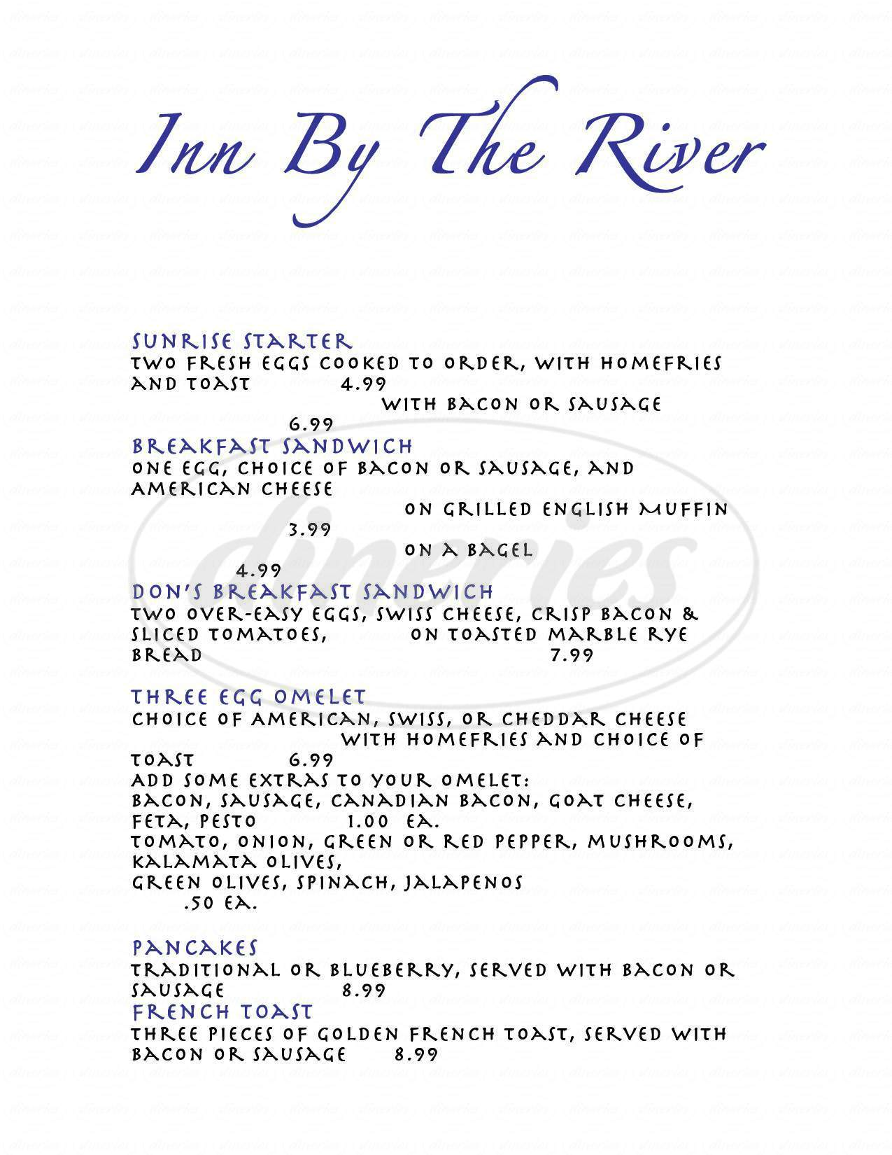 menu for Inn by the River