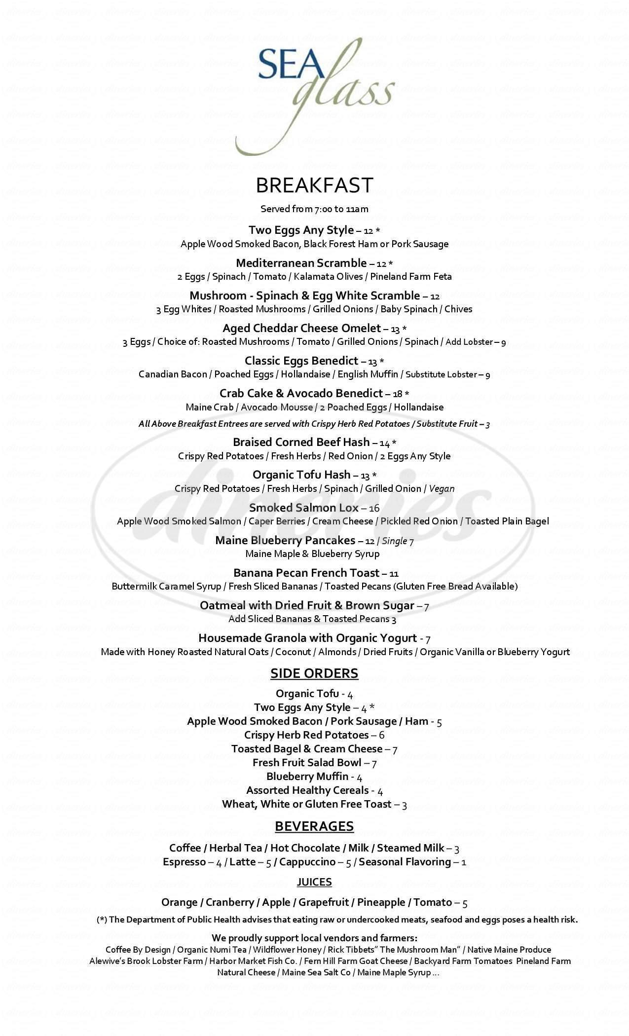menu for Inn by the Sea