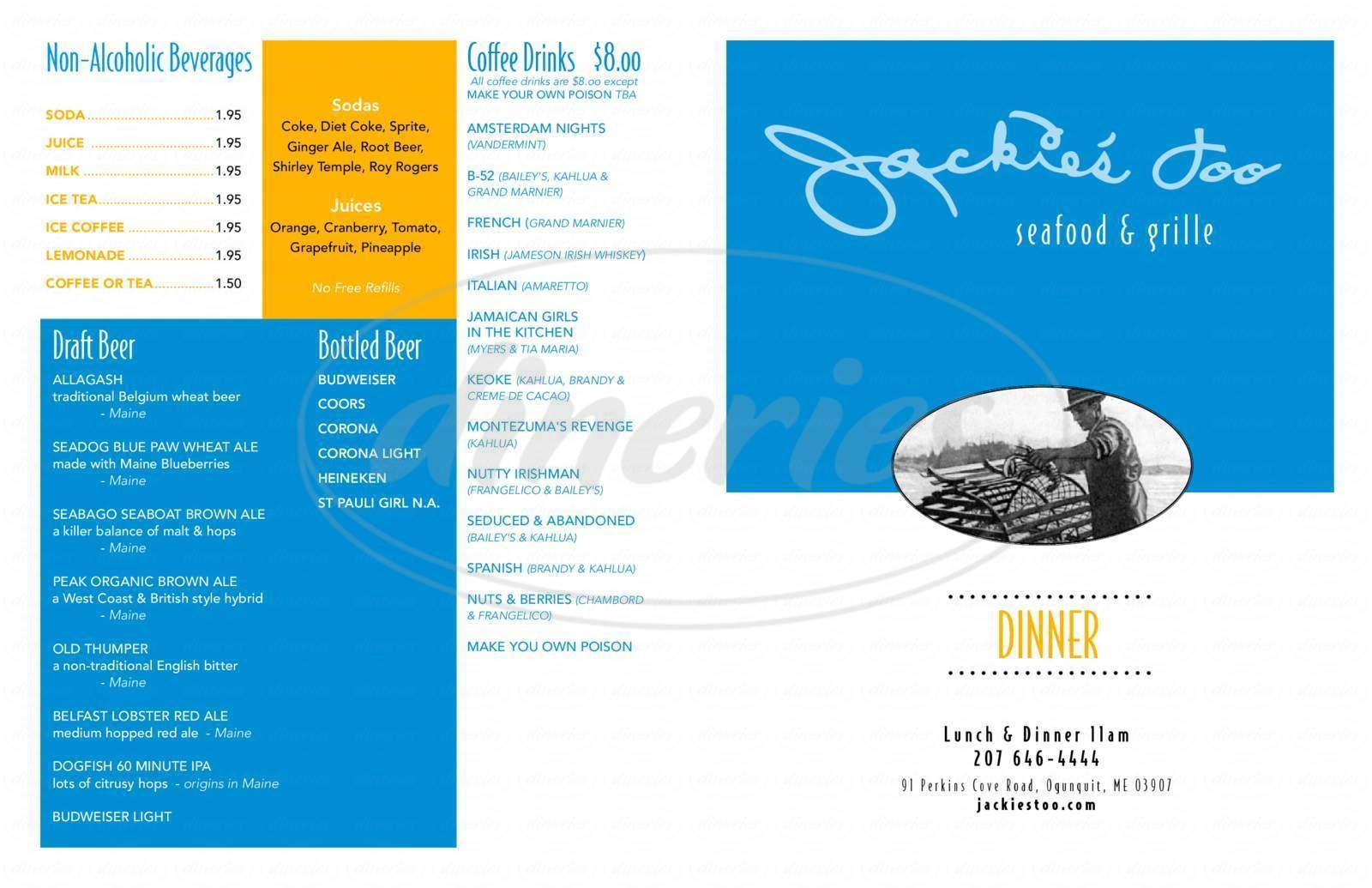 menu for Jackie's Too Restaurant