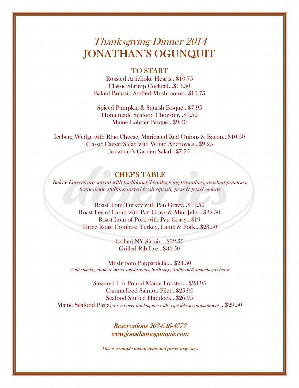 menu for Jonathan's Restaurant Concerts & Special Events
