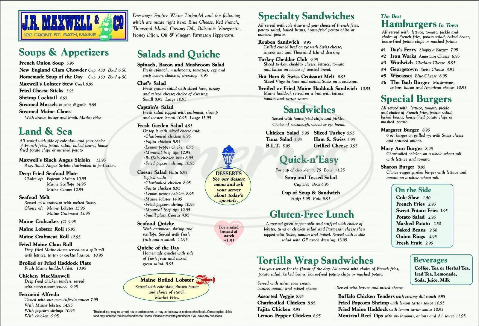 menu for J R Maxwell & Co