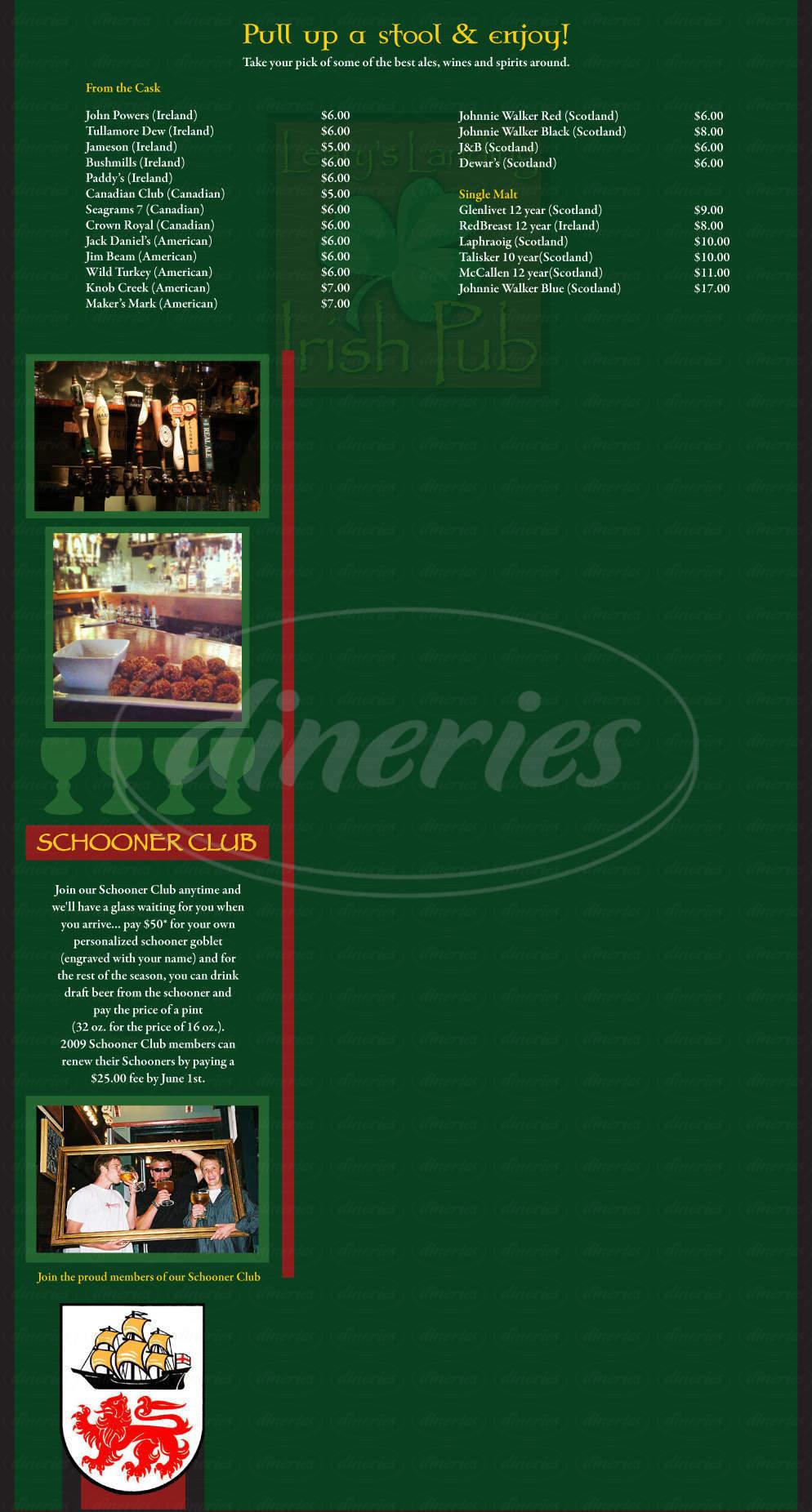 menu for Leary's Landing Irish Pub